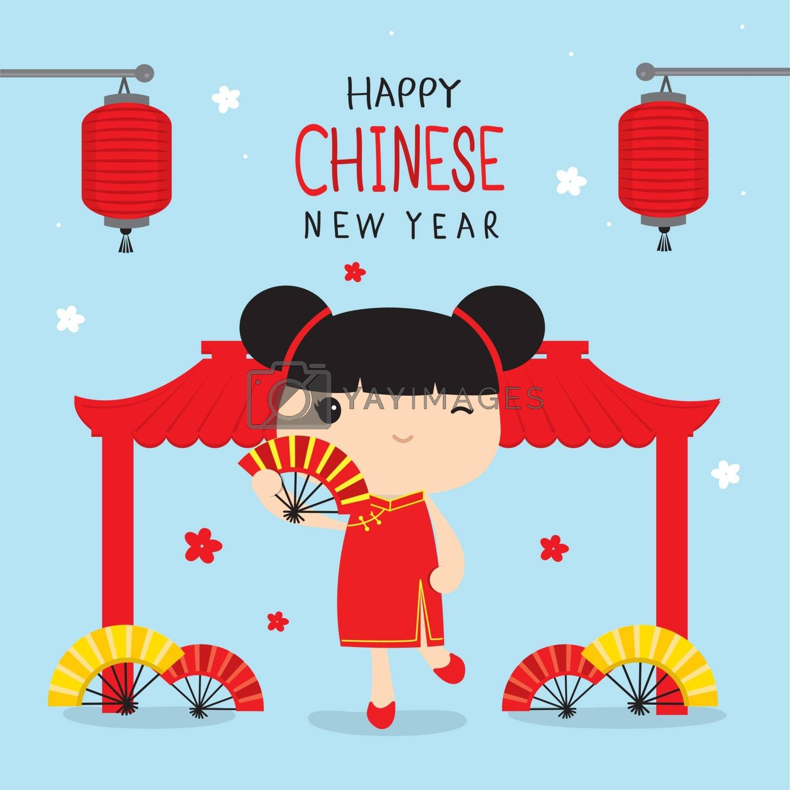 Happy Chinese New Year, Children Character Cartoon in Traditional Clothes Celebrate Vector.