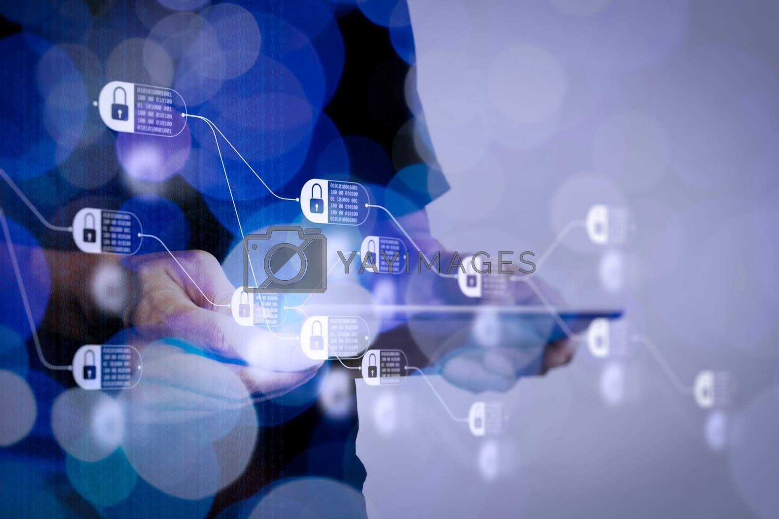 Blockchain technology concept with diagram of chain and encrypted blocks. Double exposure of businessman hand using Tablet computer with colour cloud concept