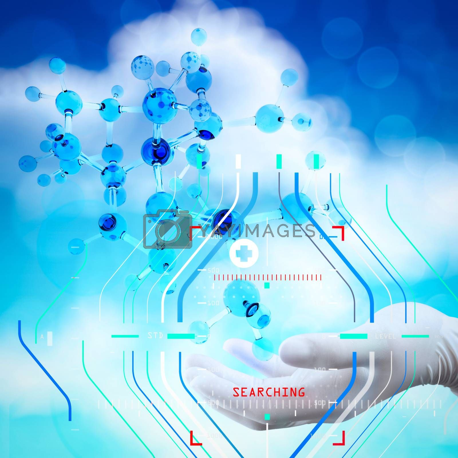 Accurate diagnosis appropriate treatment medical concept.scientist doctor hand holds virtual 3d  molecular structure in the lab