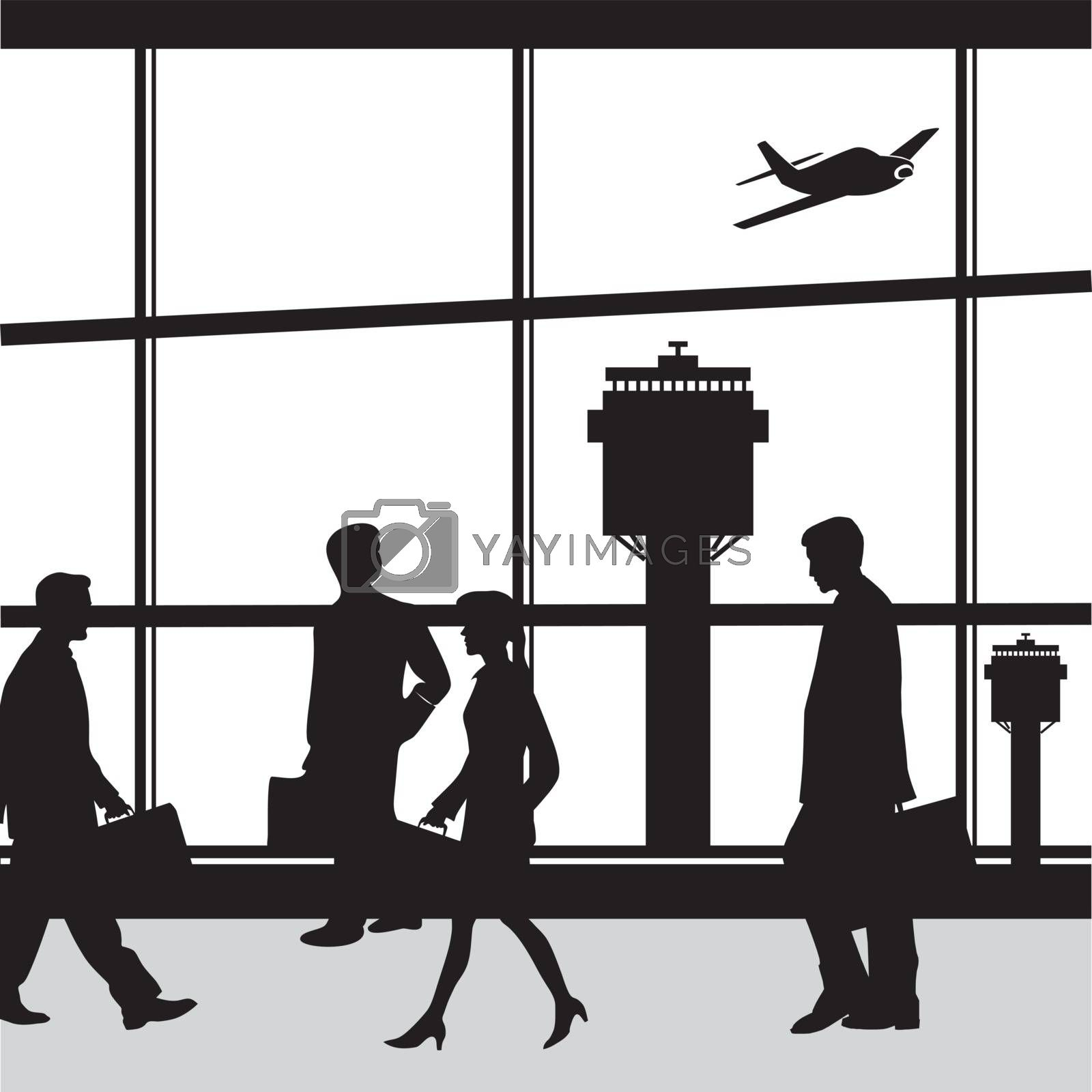 Airport terminal lounge with airplane and people silhouettes Vector illustration.