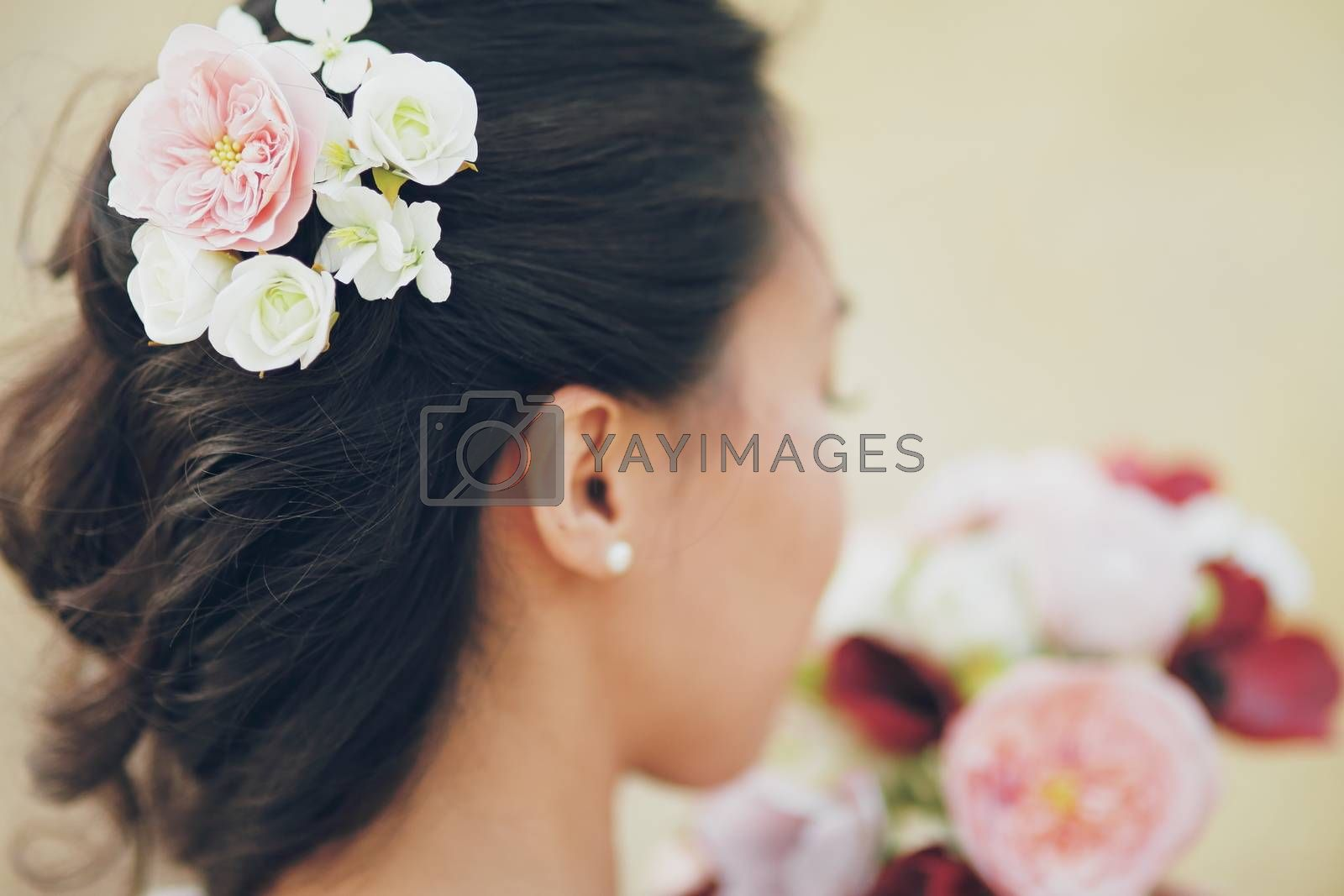 Wedding. The girl's hair. Flowers in hair. Wedding bouquet. A beautiful couple. High quality photo