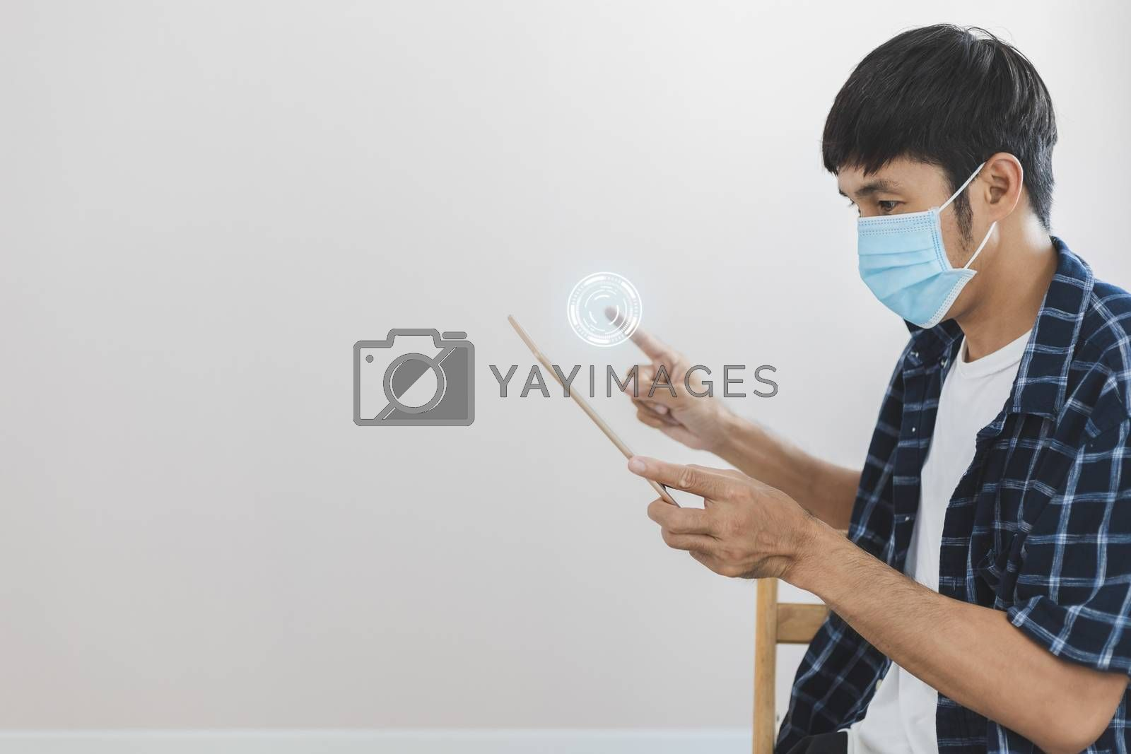 Asian man business wear surgical mask creative working online wo by oatzpenzstudio