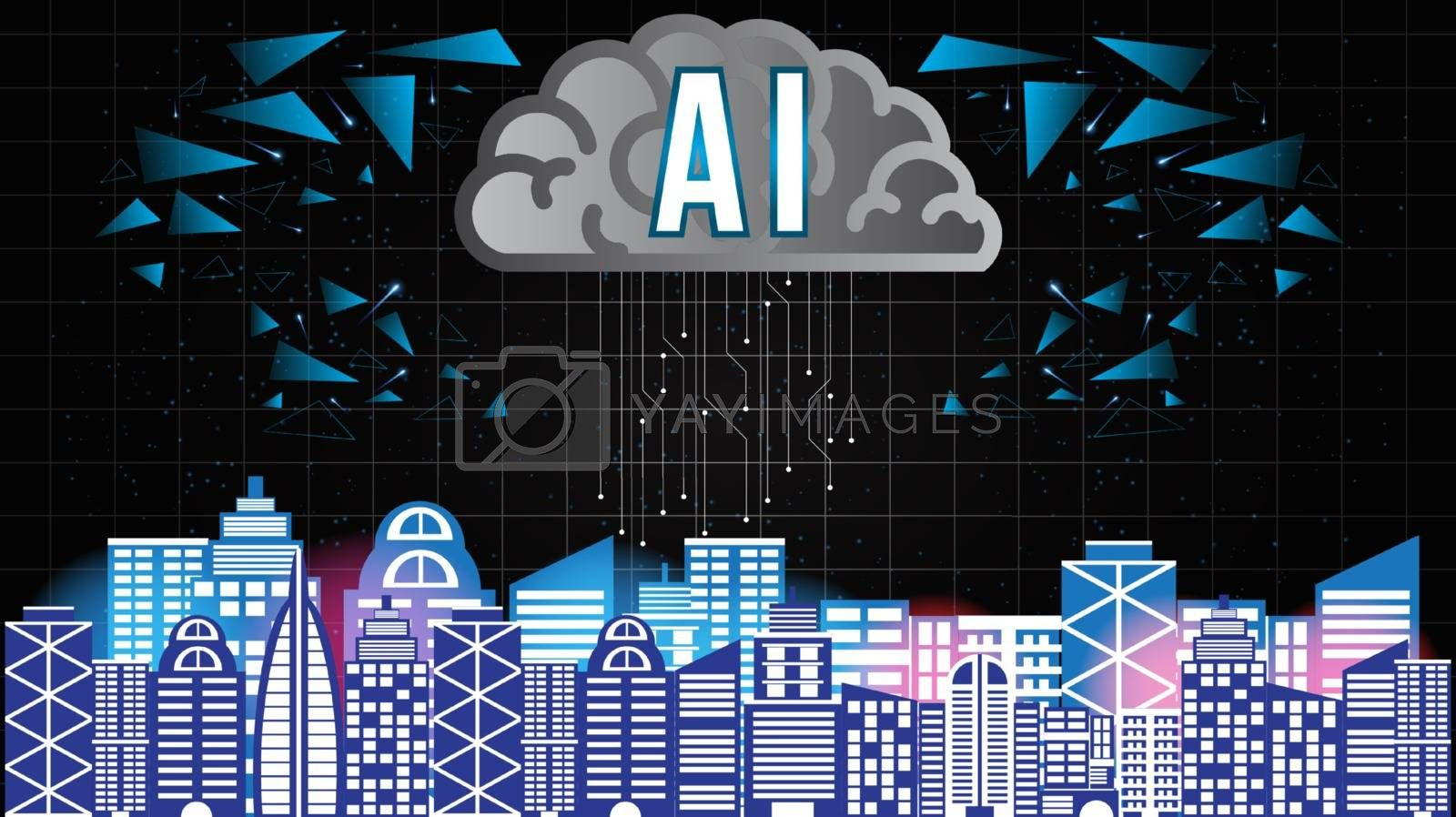 AI Artificial Intelligence technology background concept with brain and building smart city neural network thinks.Abstract futuristic sci-fi concept background.Processing big data, analysis.