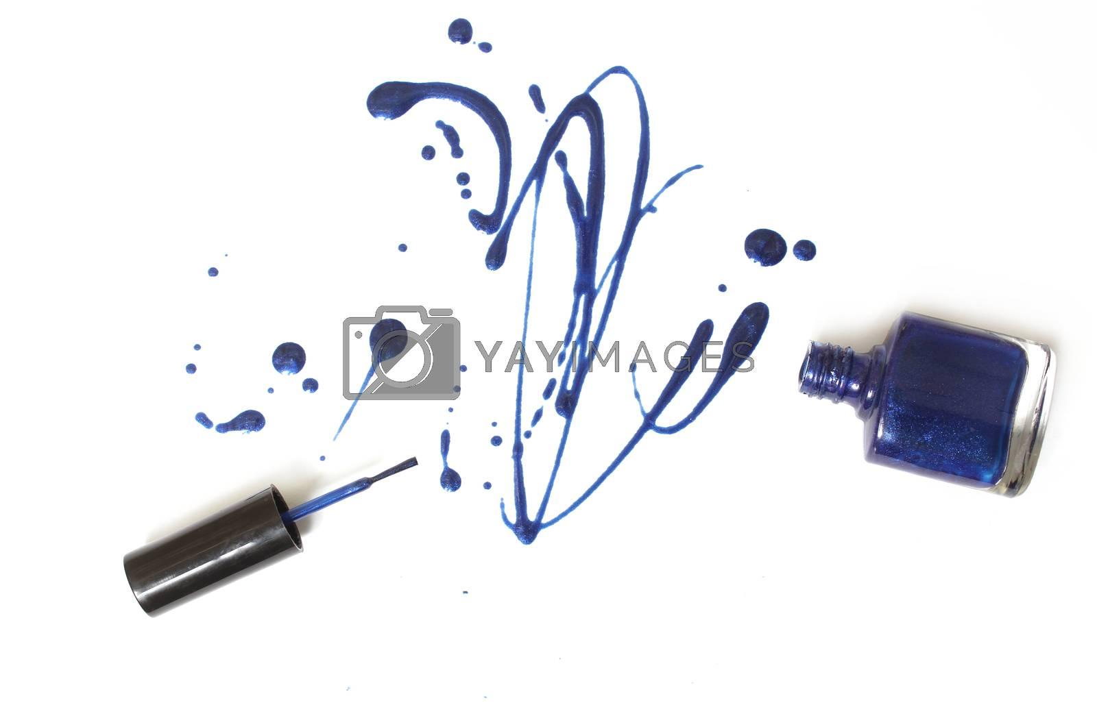 Spilled Blue Nail polish on White Background