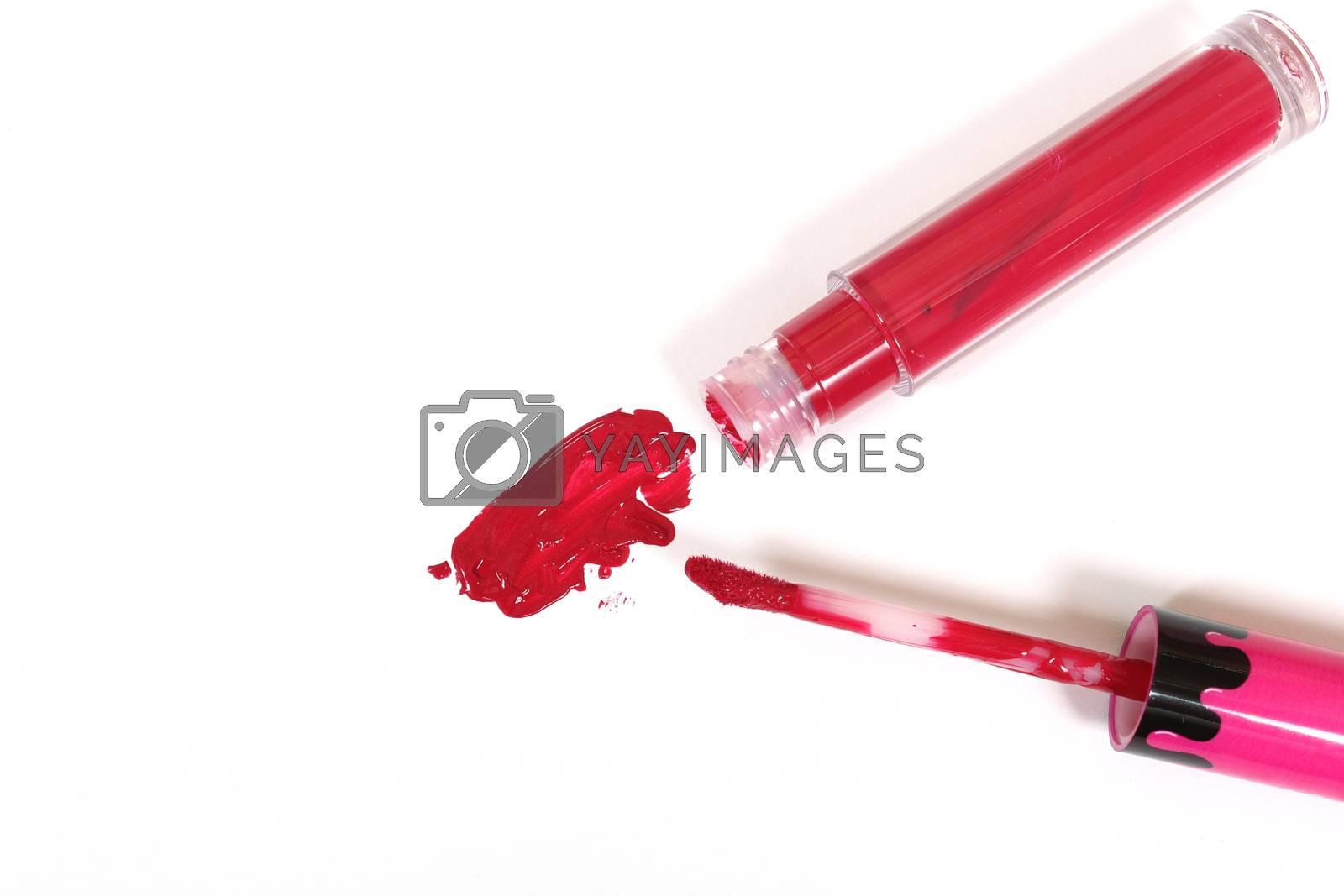 Red Liquid Lipstick on White Background
