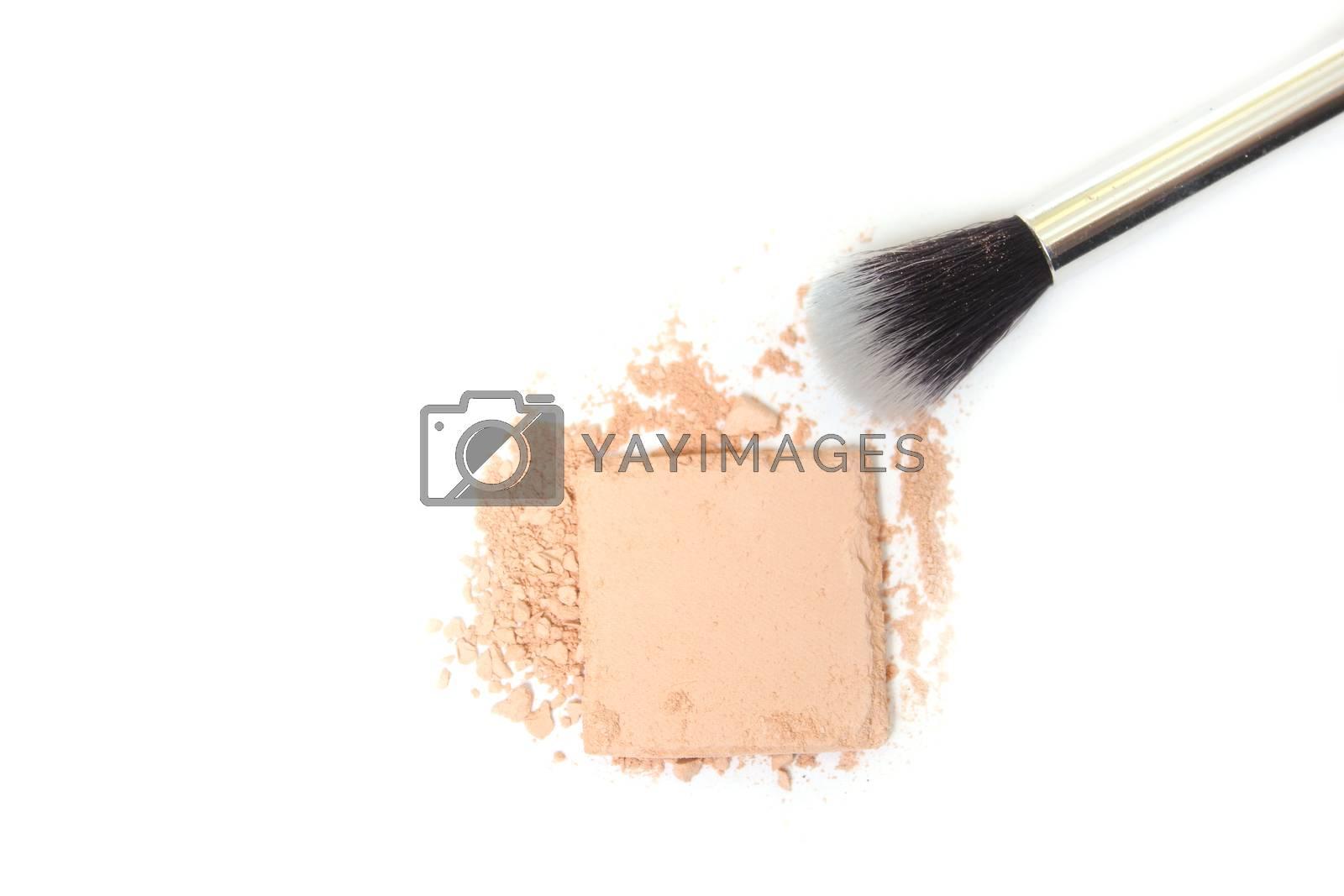 Broken Eyeshadow With Brush on White Background
