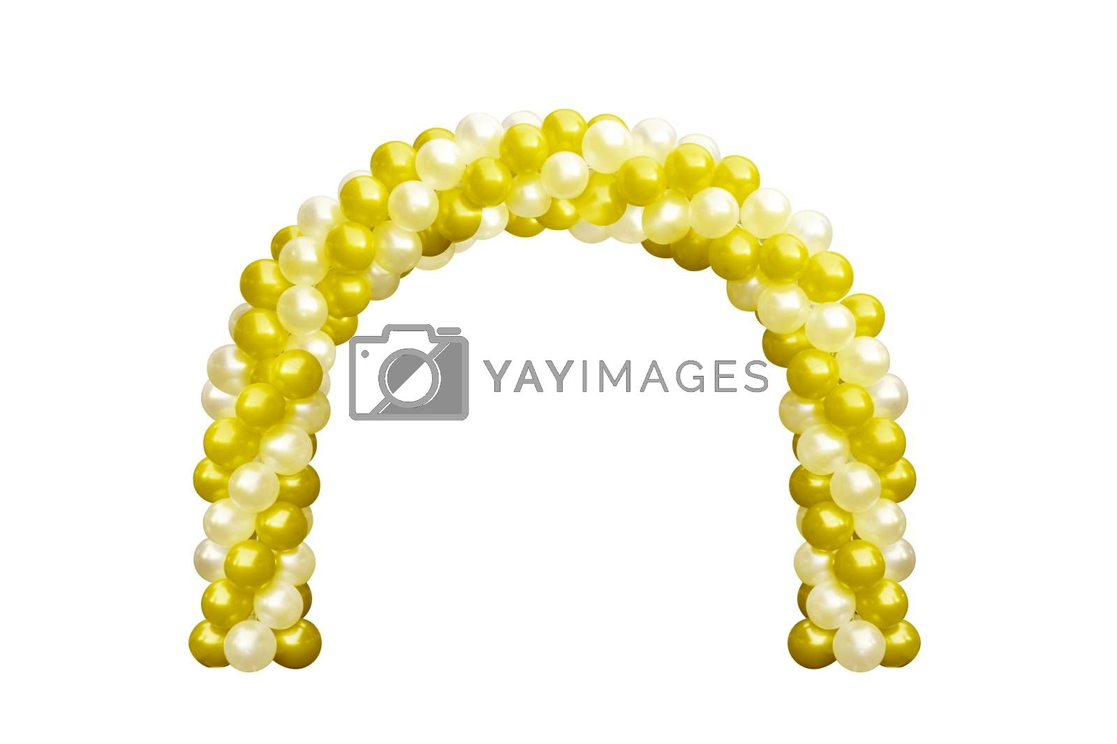 Balloon Archway door Yellow Gold and white, Arches wedding, Balloon Festival design decoration elements with arch floral design isolated on white Background