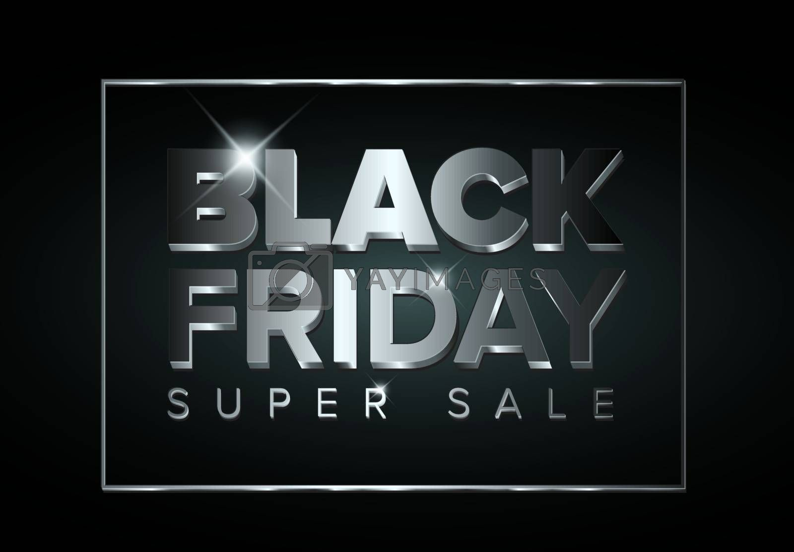 Vector black friday sale flyer made from big silver letters and lines - dark version