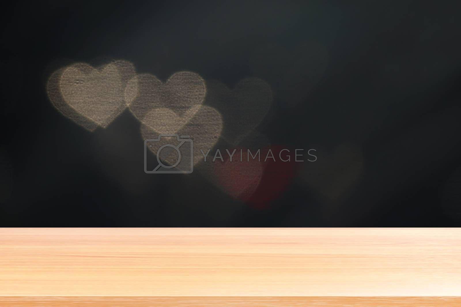 wood plank on lighting soft heart shaped bokeh for valentine background, empty wood table floors on heart shape bokeh night light multi color background, wood table board empty on bokeh heart shape