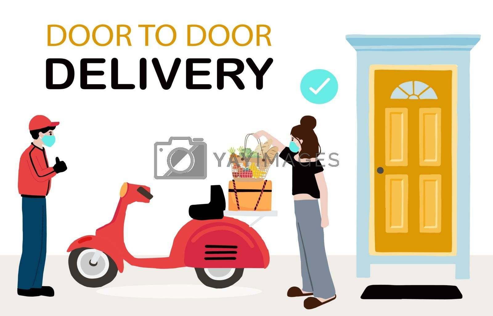 Online delivery contactless service to home,office by motorcycle. delivery man is waring mark to prevent coronavirus