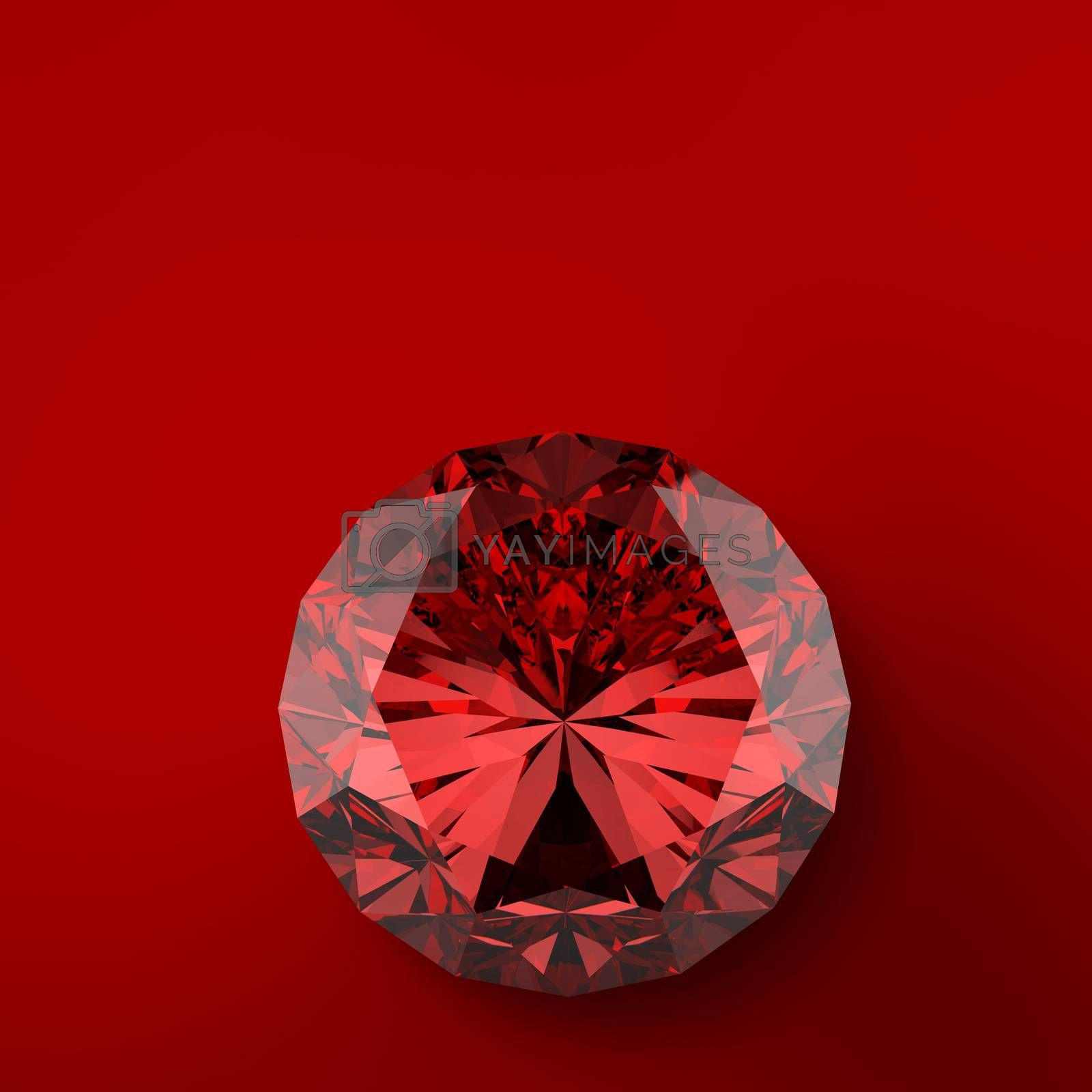 red 3d diamond on red background