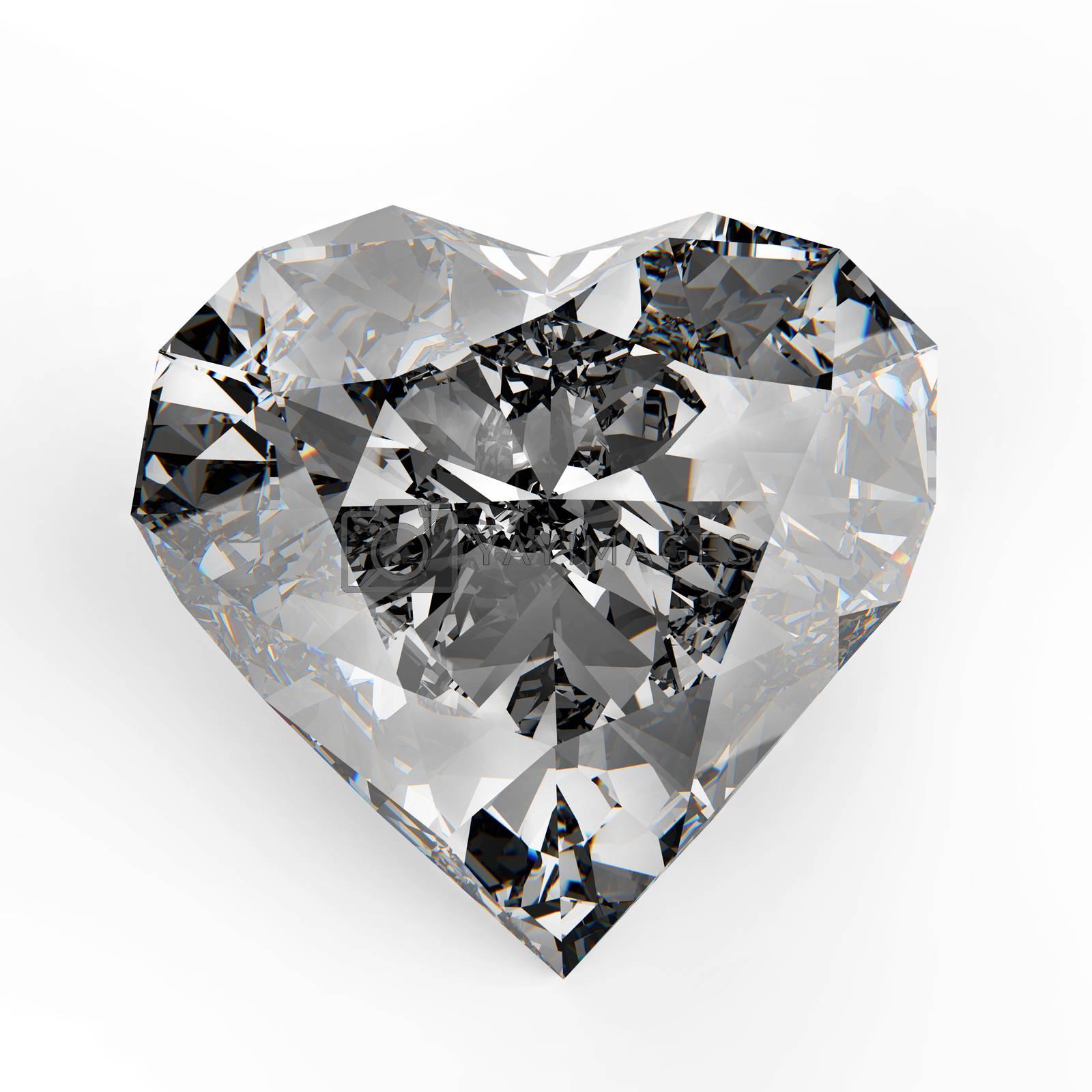 3d diamond heart shape on white background