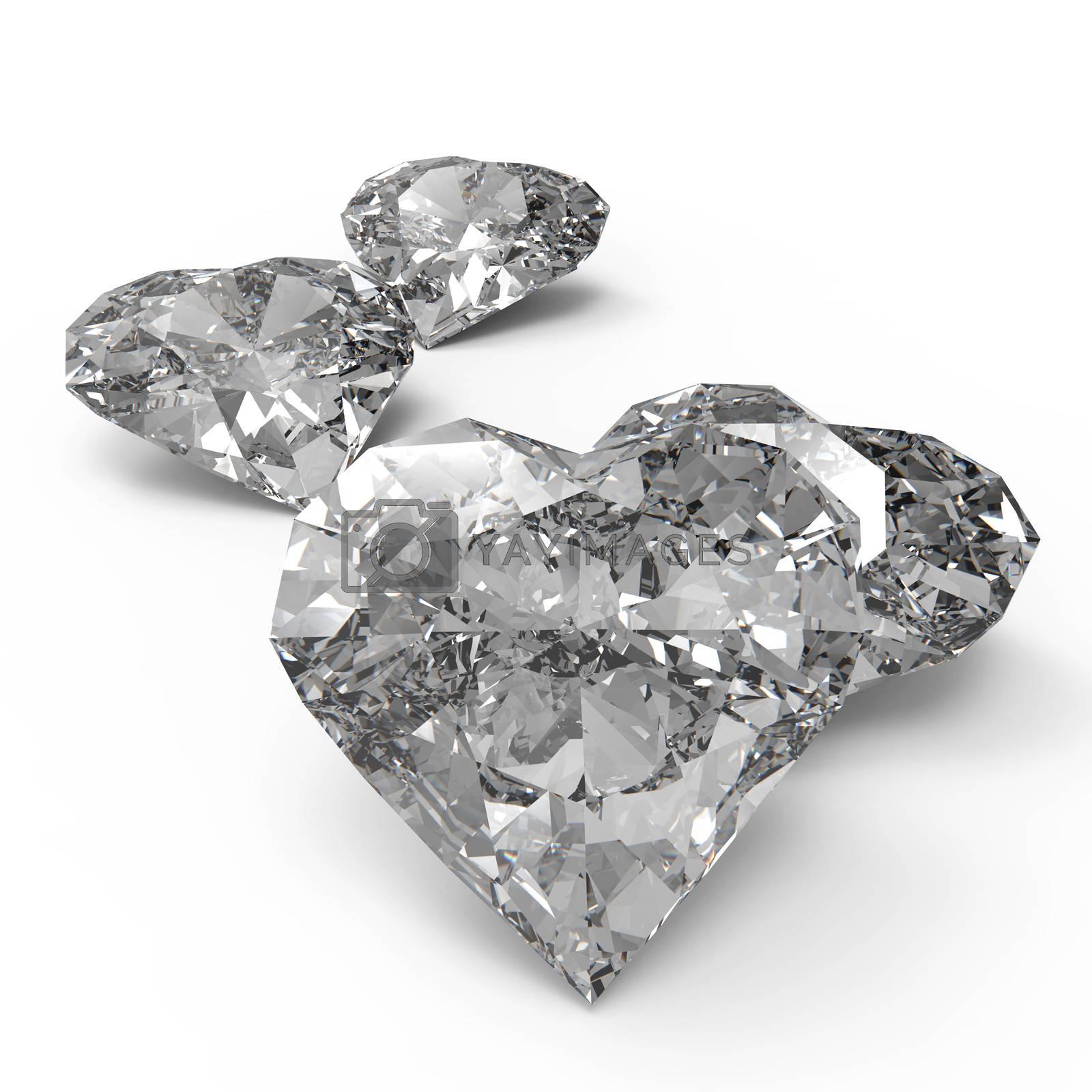 diamond heart shape on black or white surface