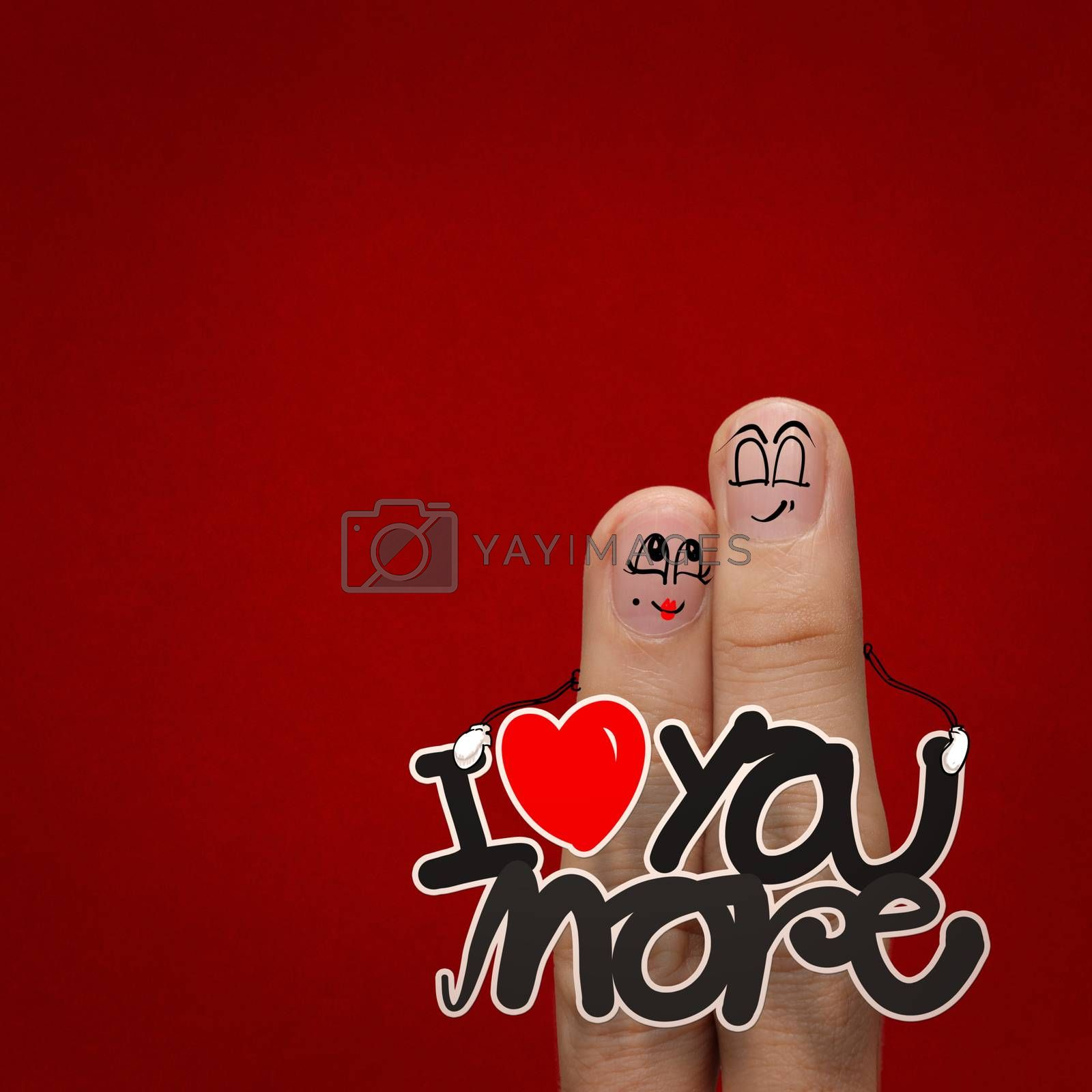 the happy finger couple in love with painted smiley and hold word love you more