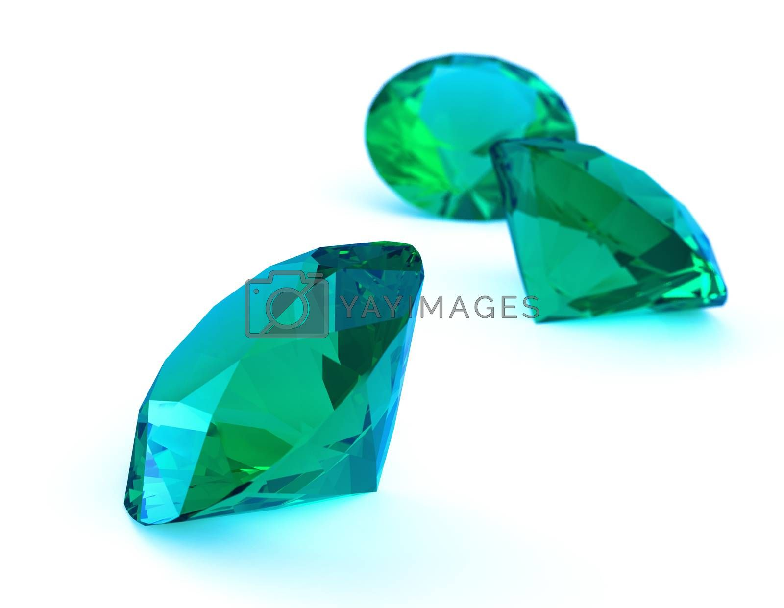 beautiful gems 3d isolated on white background