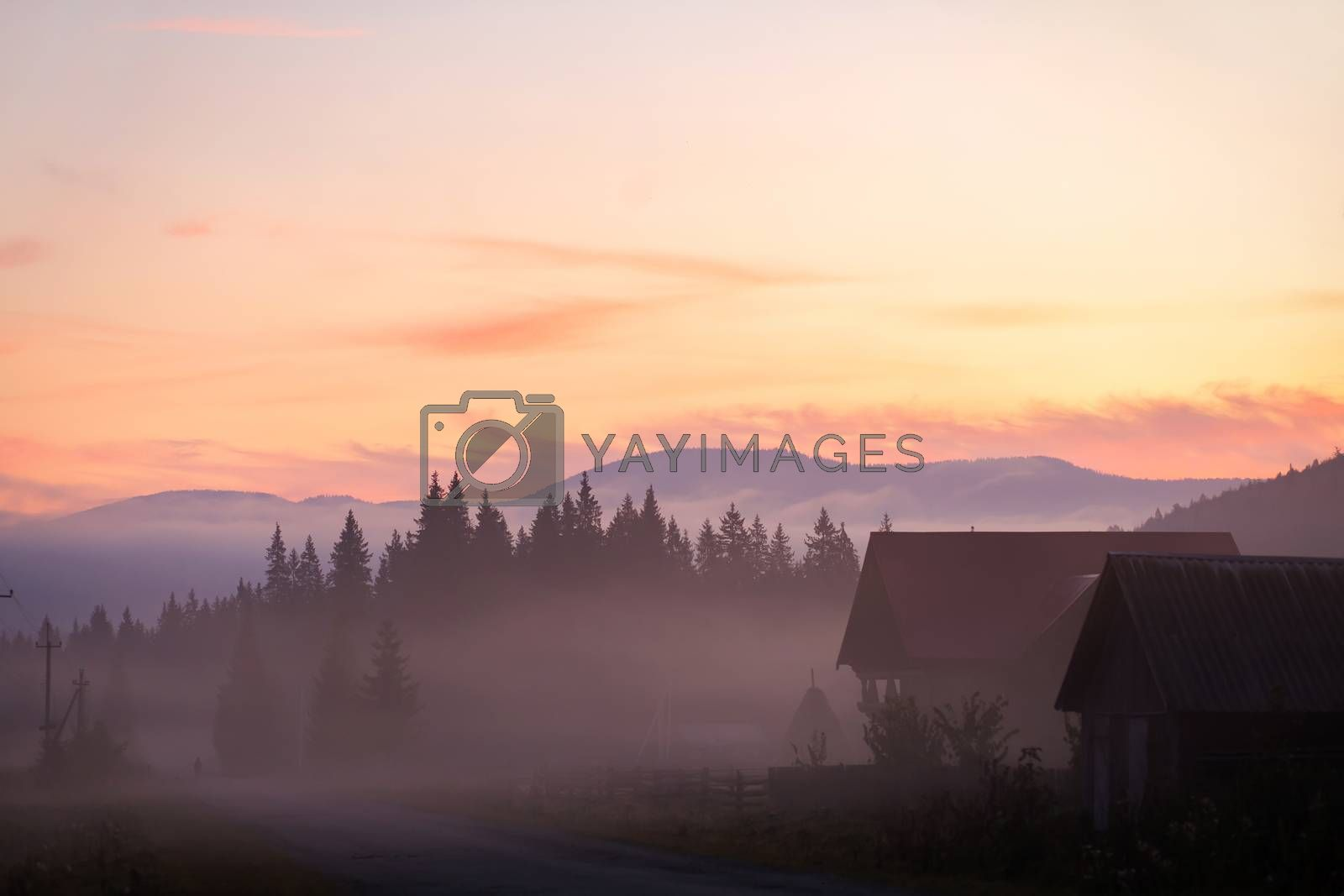 Landscape nature view background. View from street at a wonderful landscape nature view with space for your text in mountains