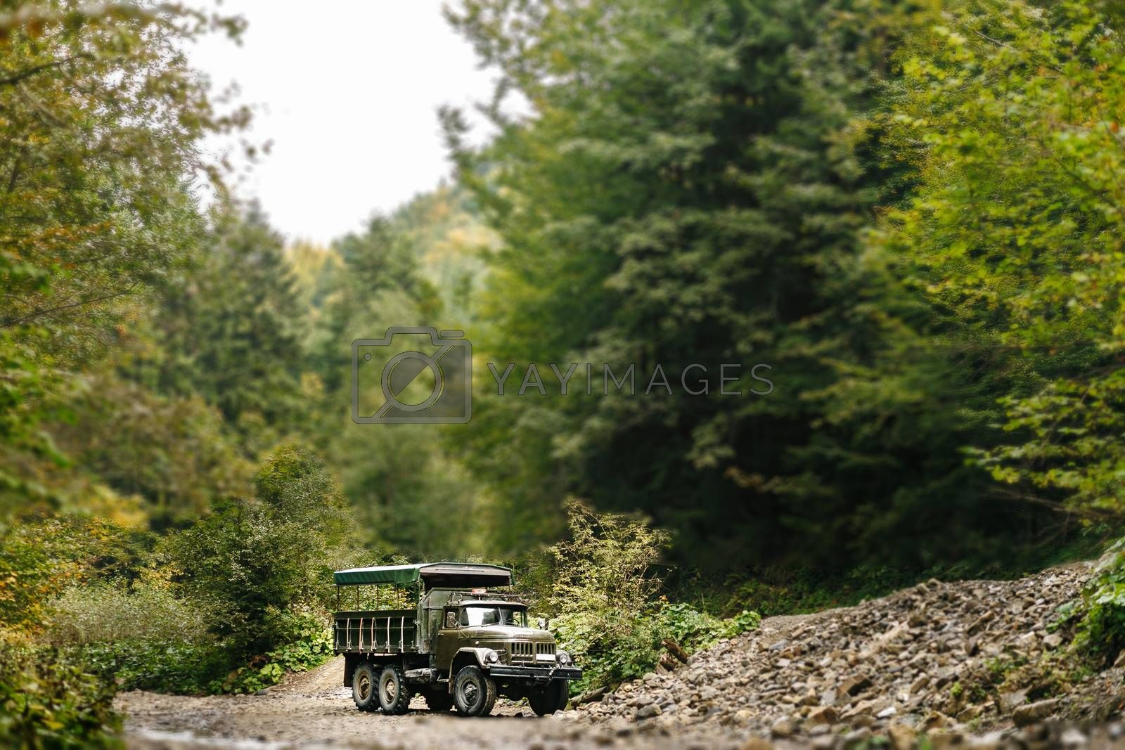 Soviet truck in the Carpathian Mountains carries people on excursions.