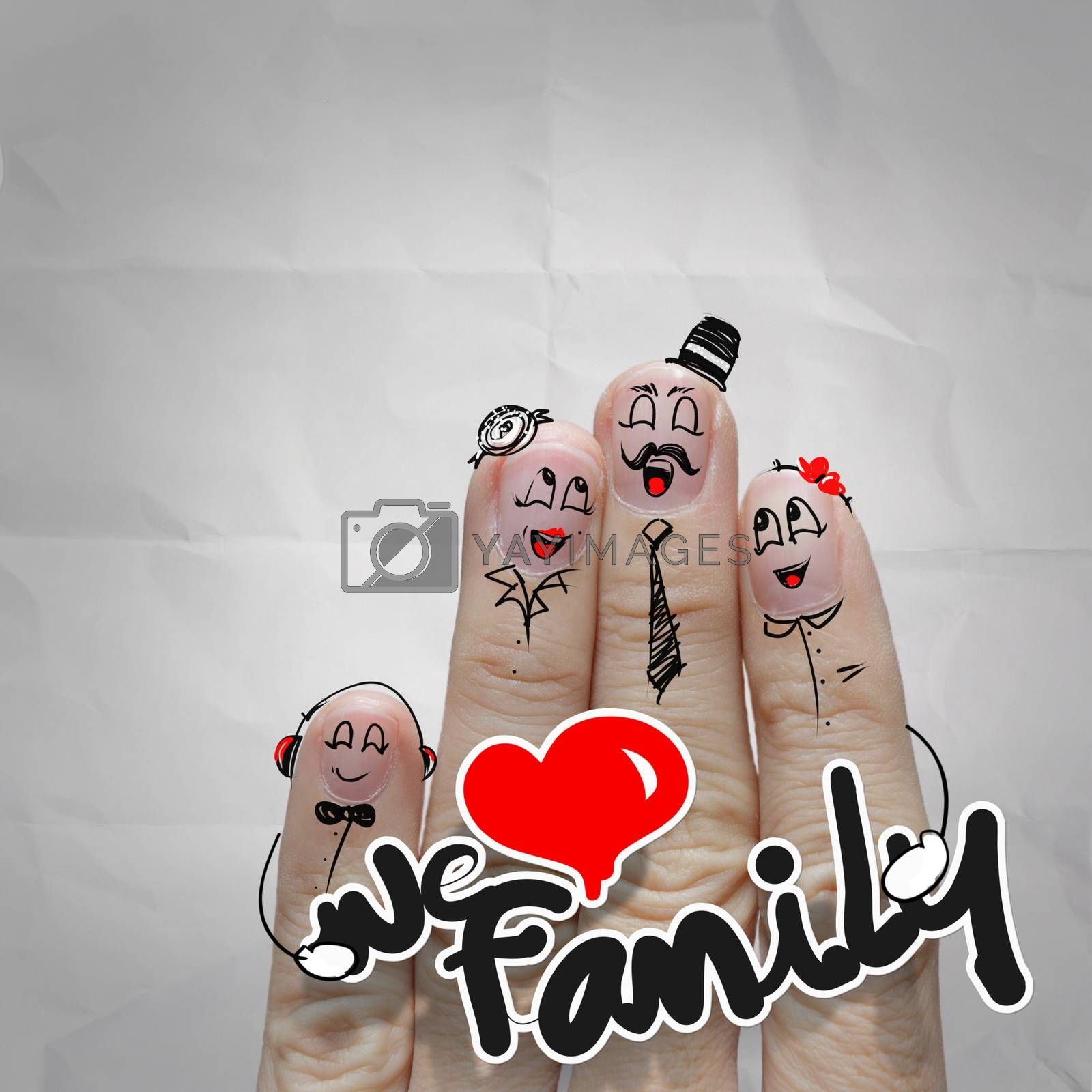 happy finger couple in love with painted smiley on crumpled paper background