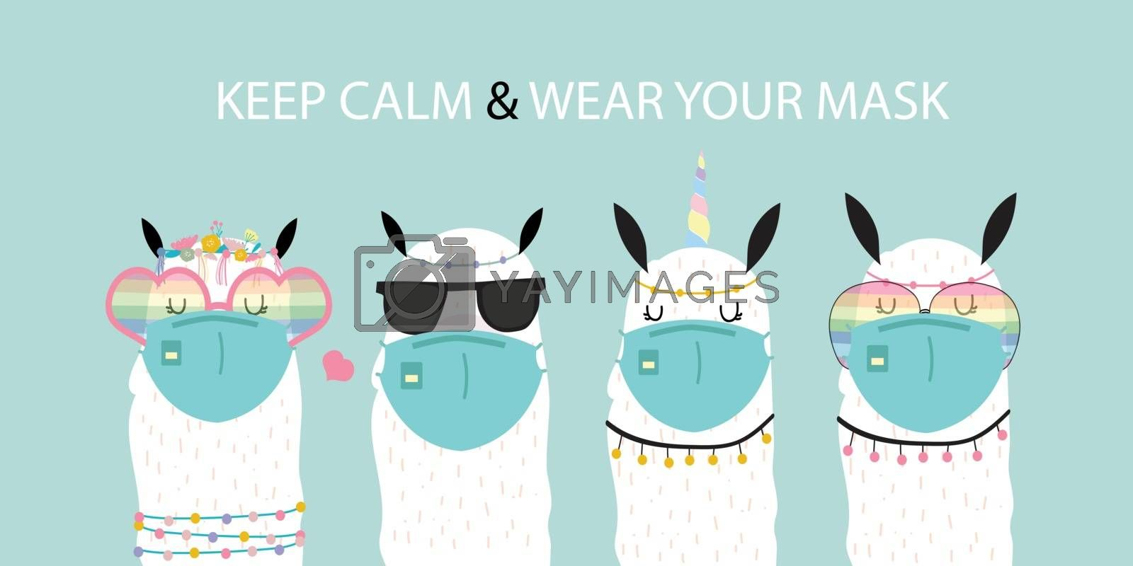 Cute animal object collection with llama wear mask.Vector illustration for prevention the spread of bacteria,coronviruses.Keep calm and wear your mask