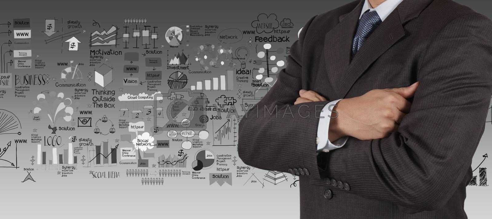 businessman and business strategy background as concept