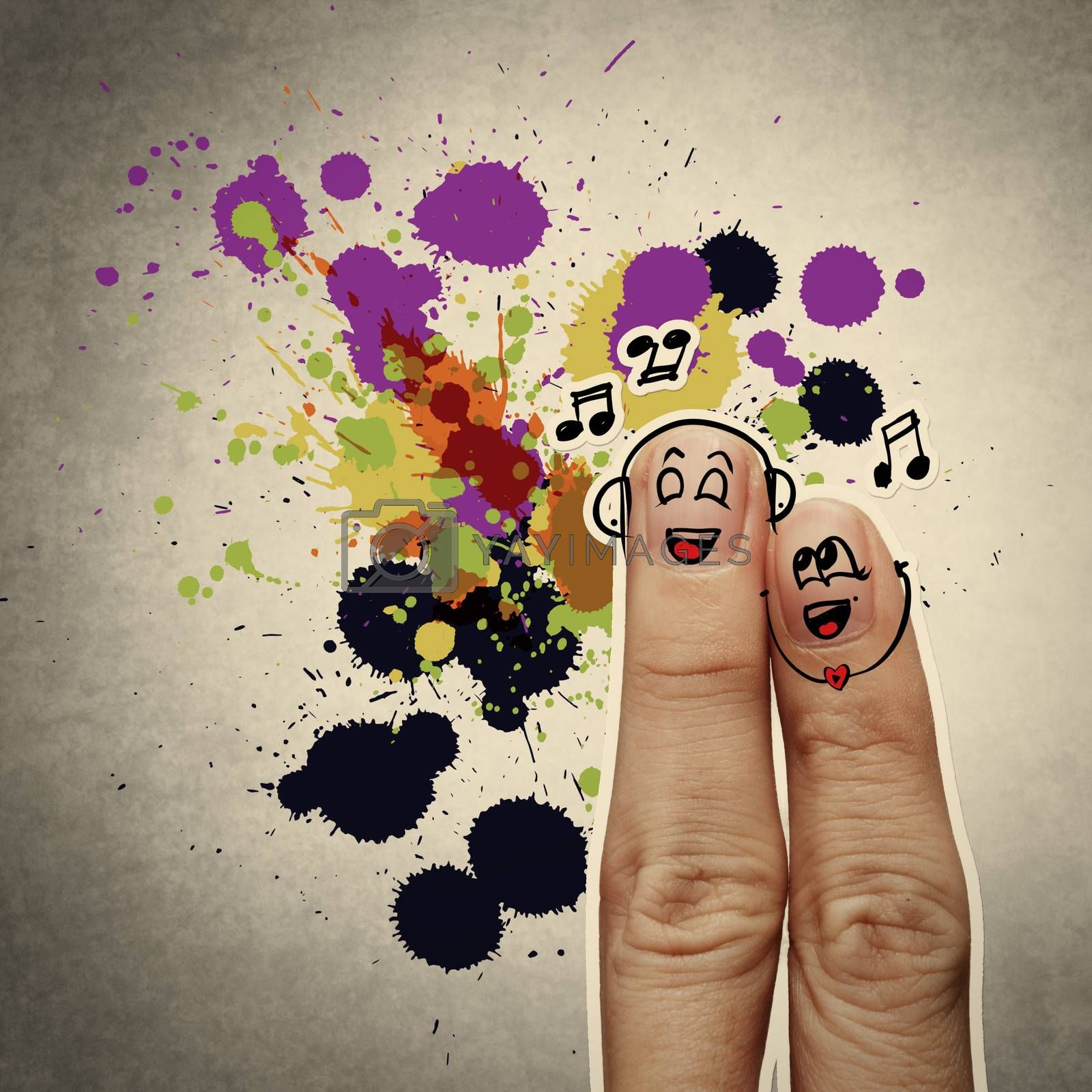 the happy finger couple in love with painted smiley and sing a song on splash colors background
