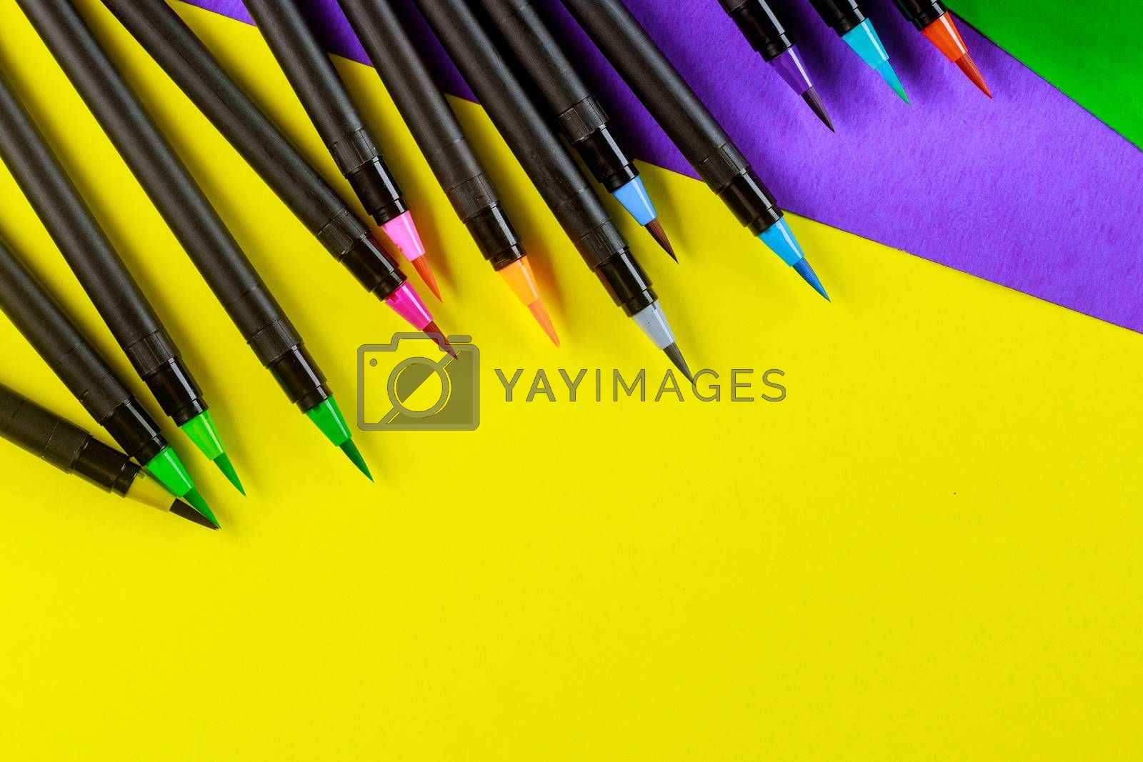 Artist watercolor calligraphy brush of drawing supplies by Ungvar