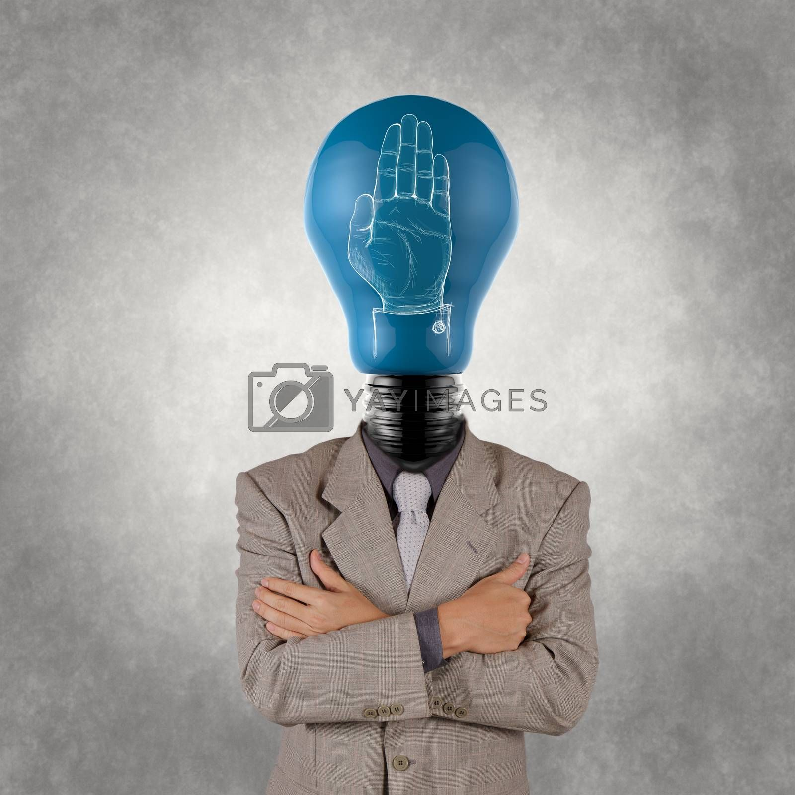 businessman with lamp-head  and hand rised sign as concept