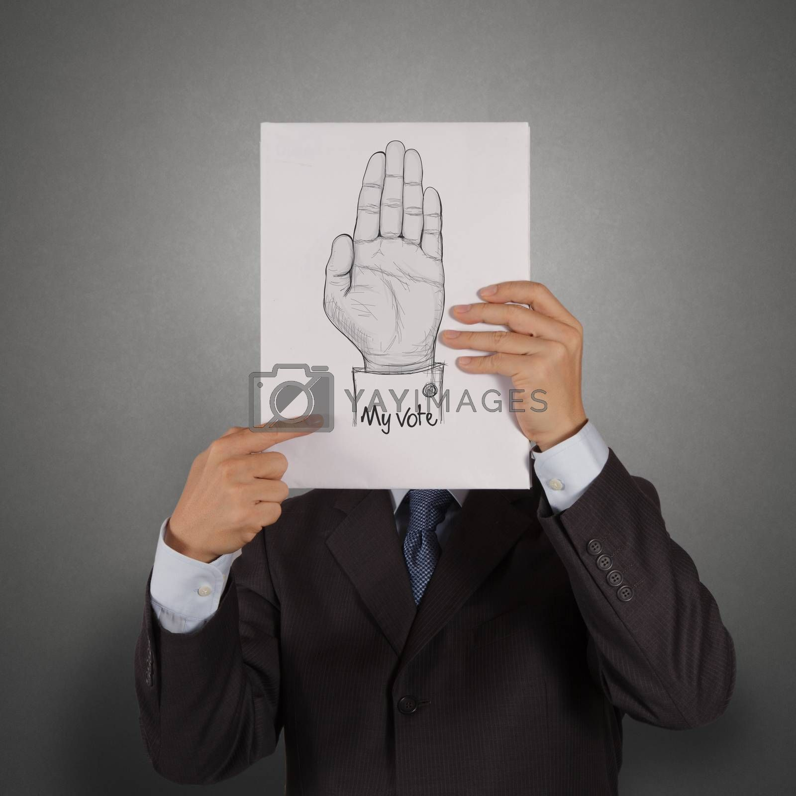 businessman show book of  Hand raised with MY VOTE text as concept