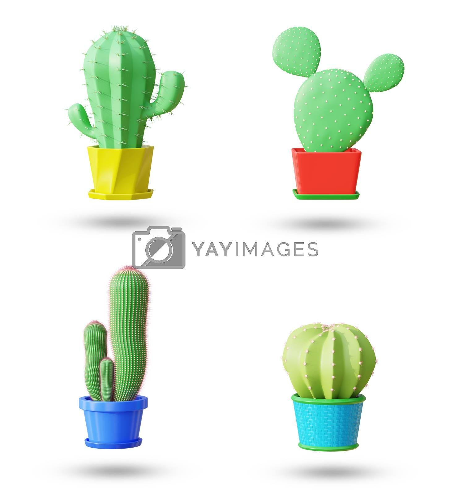 Set elements of cactus in cartoon minimal style with white background and clipping path. It is a plant that lives in the western desert. The concept of lover cactus. 3D illustration rendering.