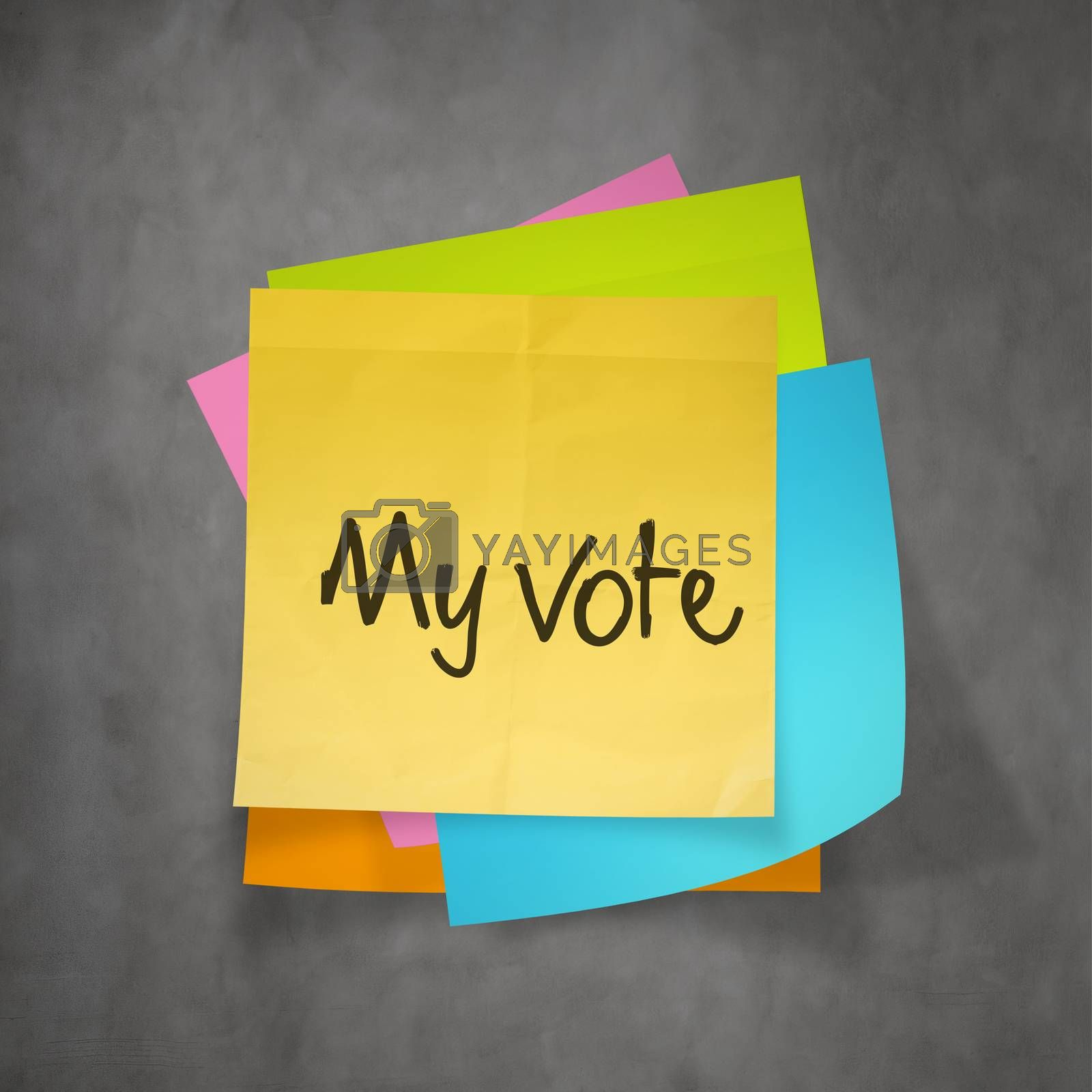 """""""my vote"""" text on sticky note paper"""