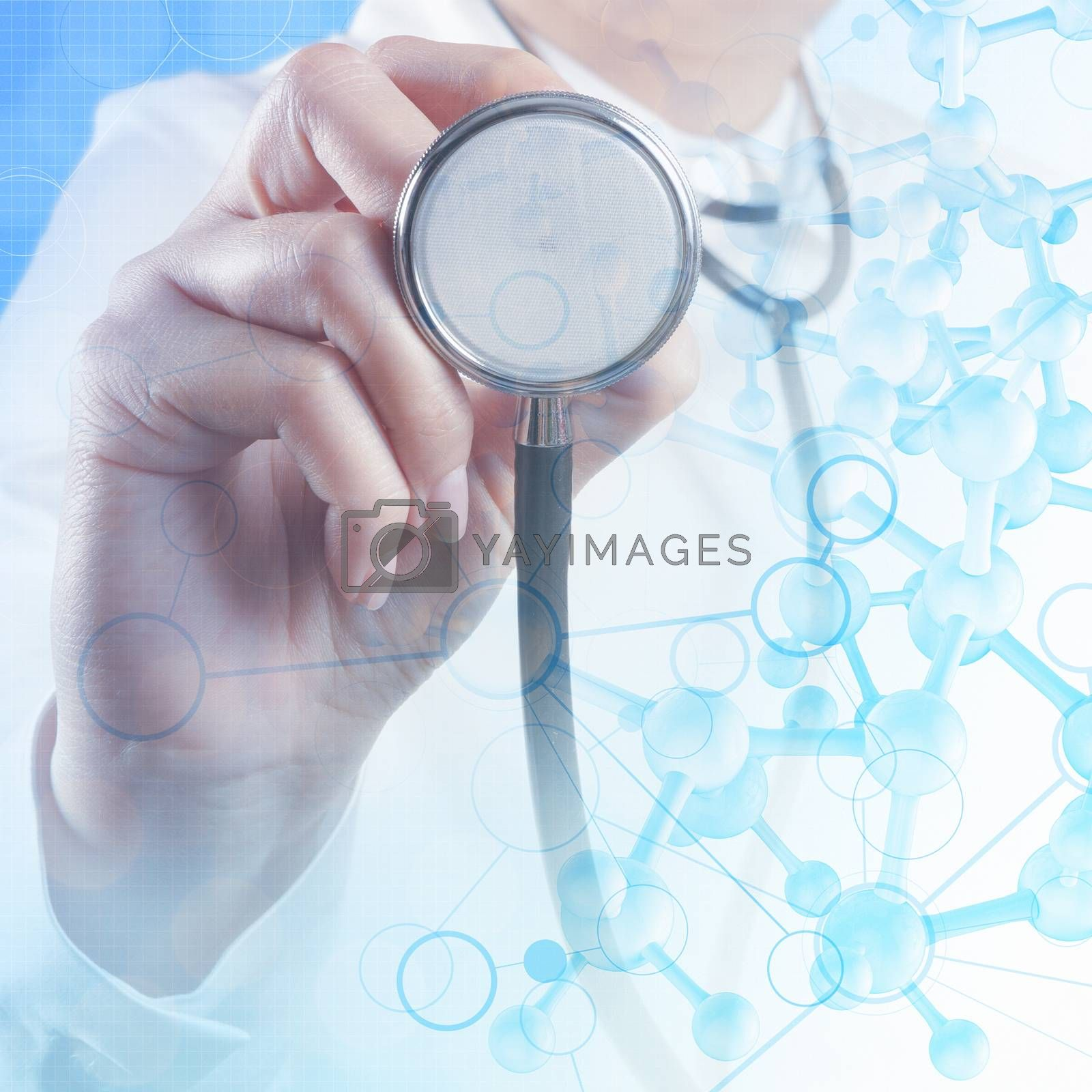 Double exposure of scientist doctor hand holds virtual molecular structure in the lab as concept