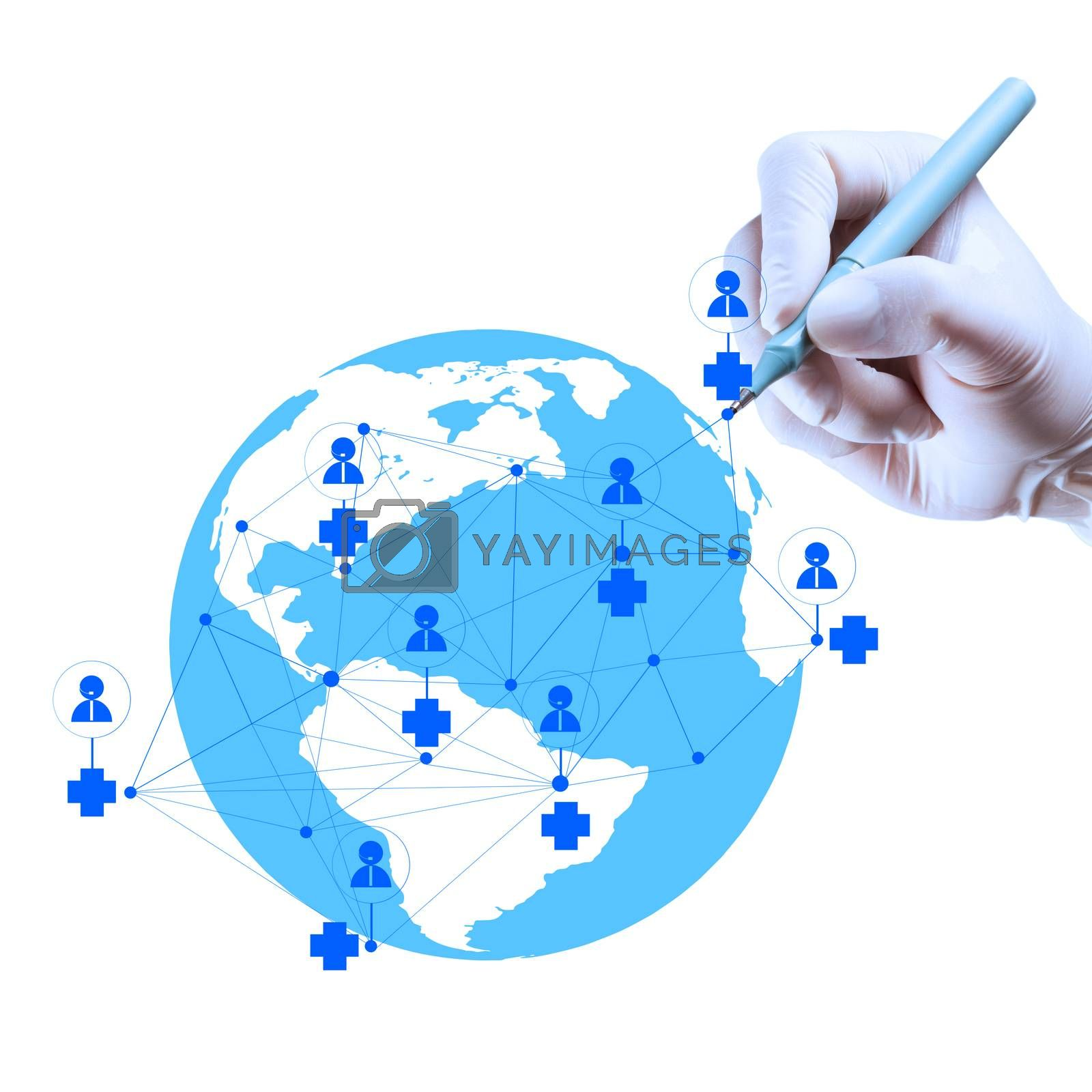 Medicine doctor hand drawing with modern computer interface as medical network concept