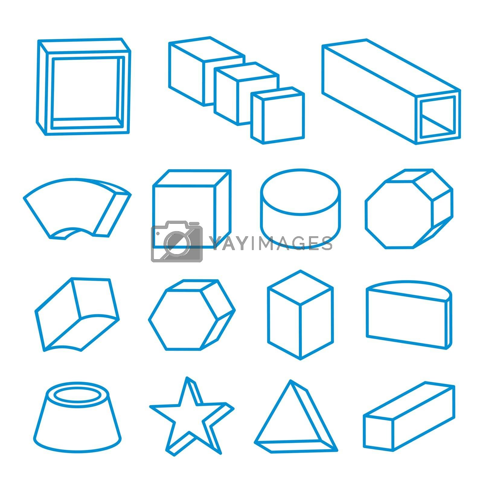 Set of 3D Geometric Line shapes, solids element vector illustration.