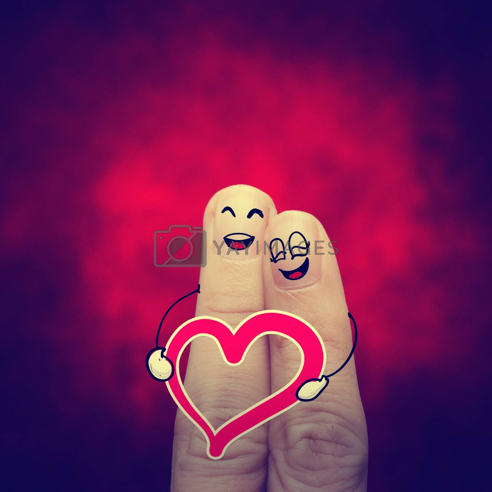 the happy vintage  finger couple in love with painted smiley classic