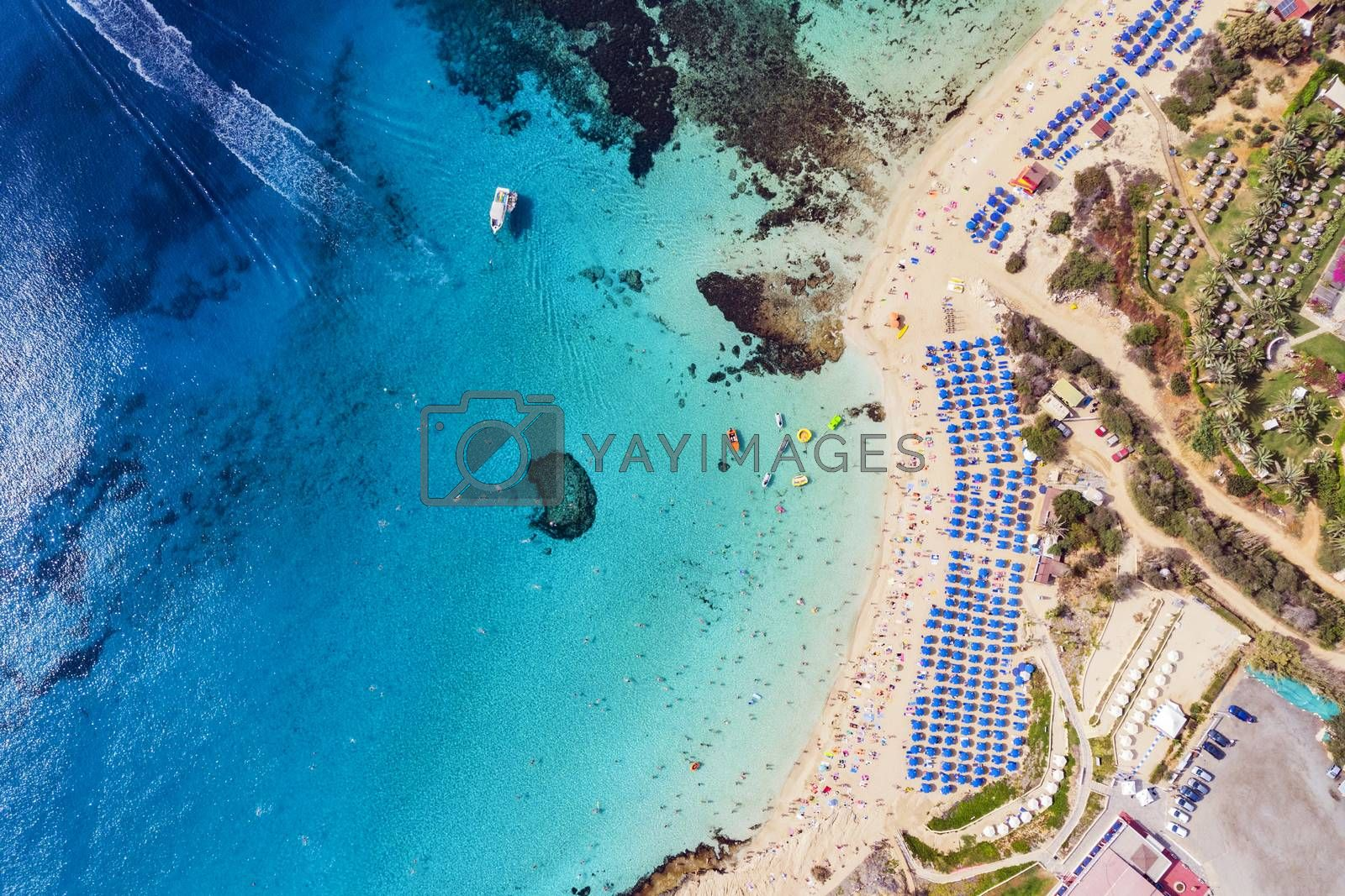 Royalty free image of Top view of city of Cyprus and the city of Ayia NAPA. Air view of the resort Mediterranean coastal city. by diy13