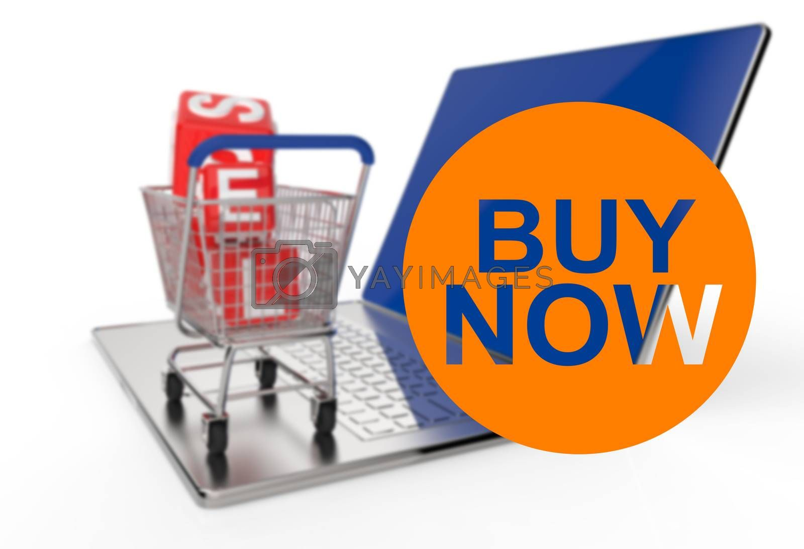 Royalty free image of buy now with shopping cart sale  by everythingpossible