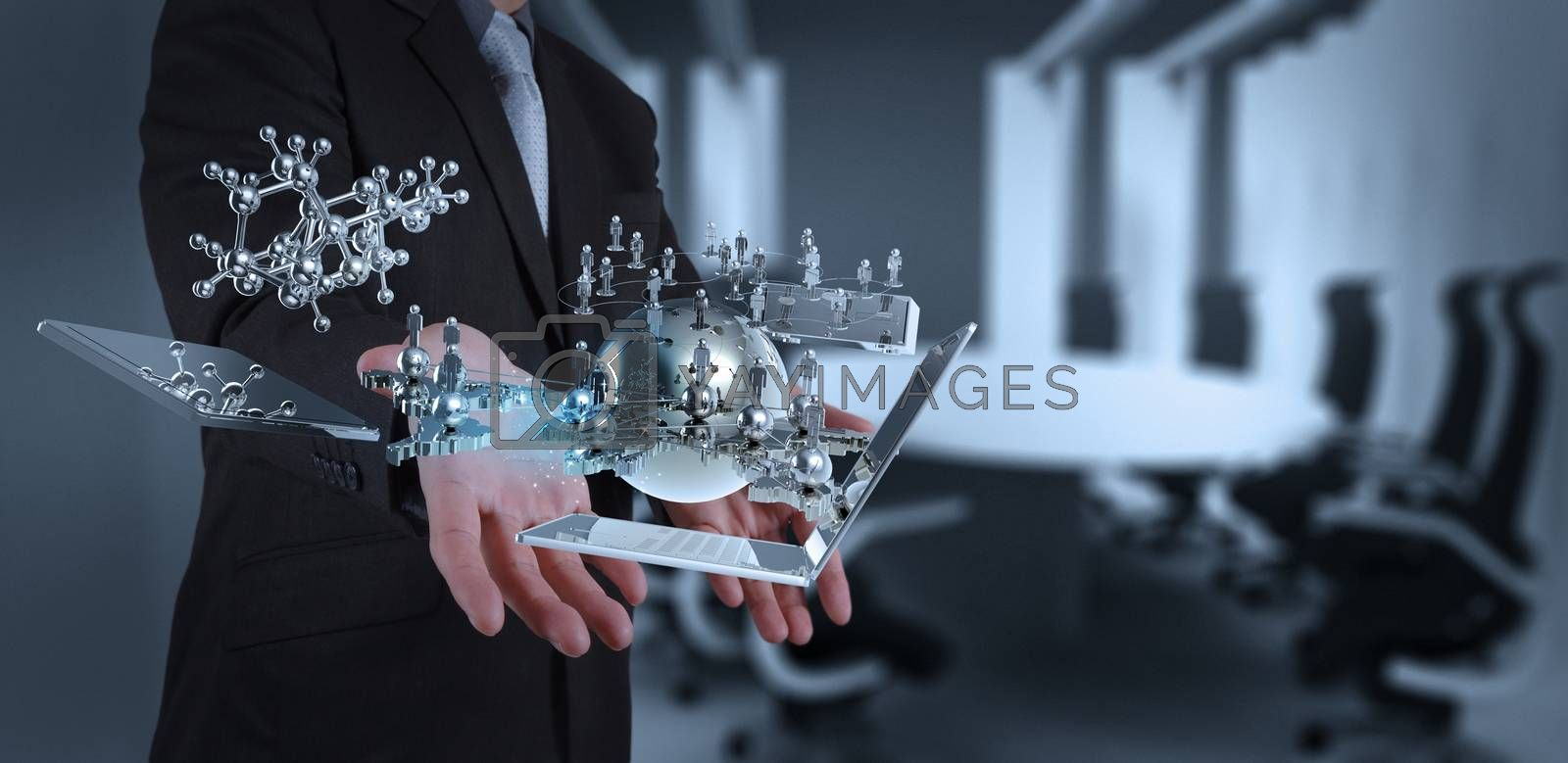 Royalty free image of businessman working on modern technology  by everythingpossible