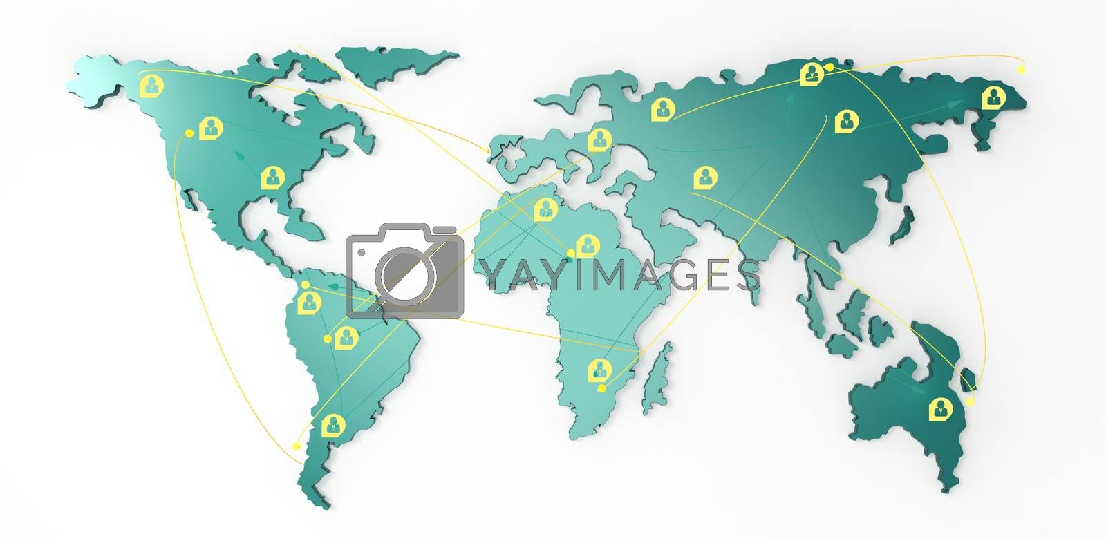 Royalty free image of social network human 3d on world map  by everythingpossible