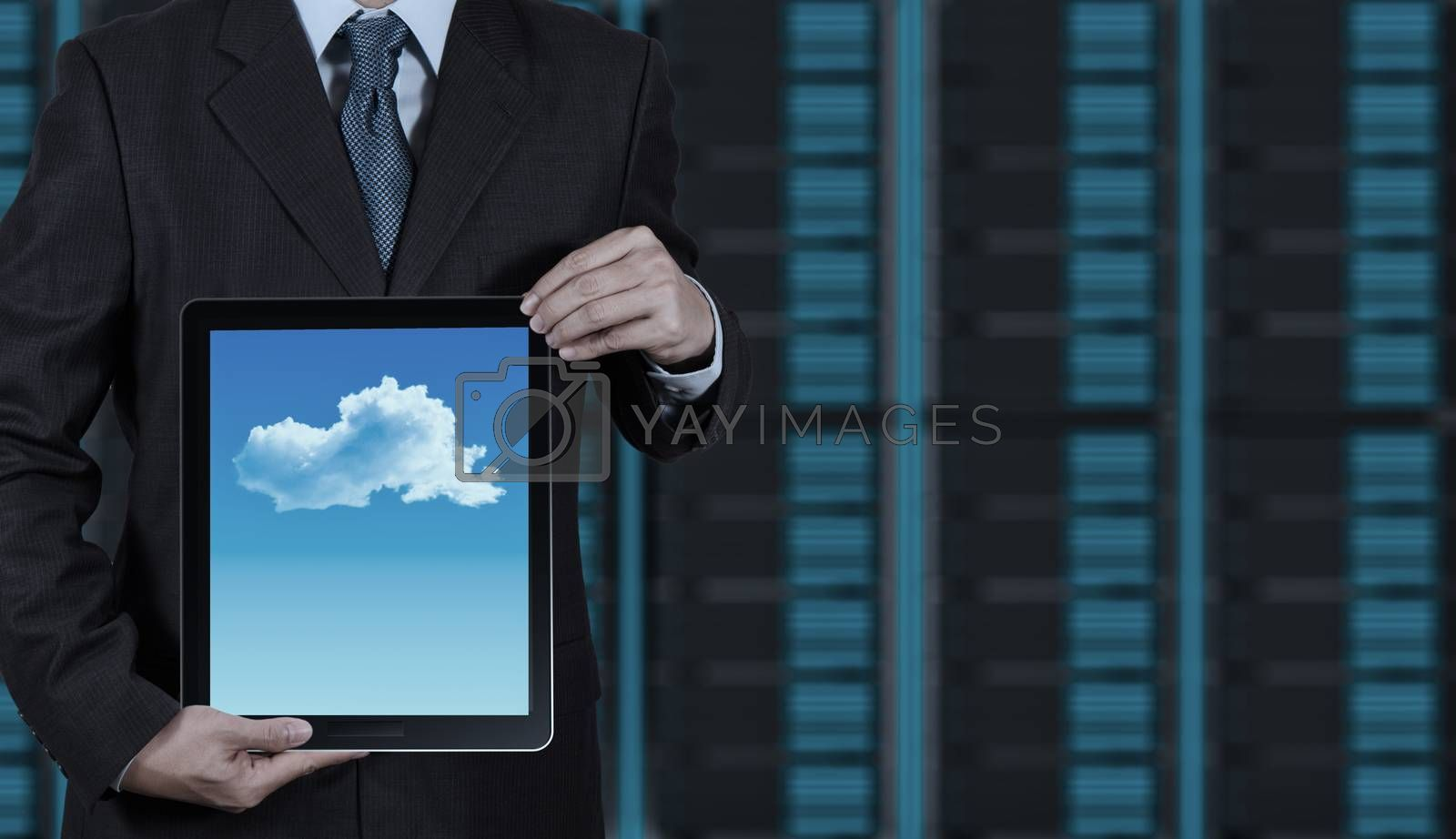 Royalty free image of Businessman hand working with a Cloud Computing diagram on the n by everythingpossible