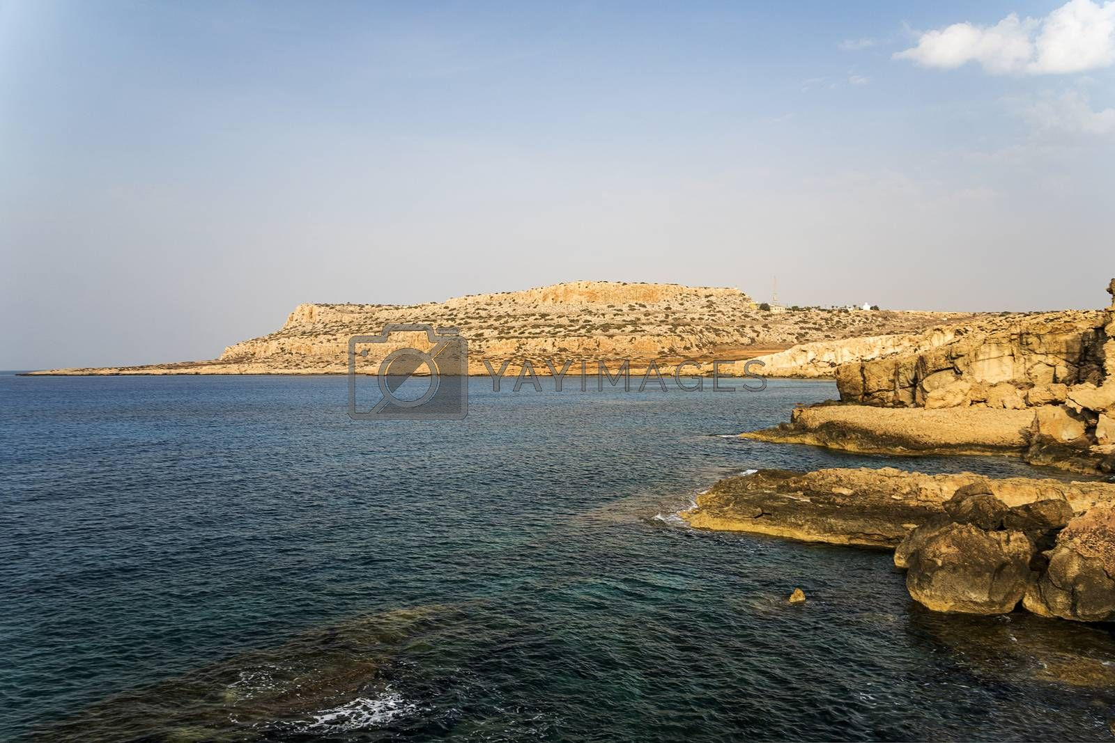 Royalty free image of Beautiful seascape with blue sea and rocky shore in resort of Ayia Napa, Cyprus. by diy13