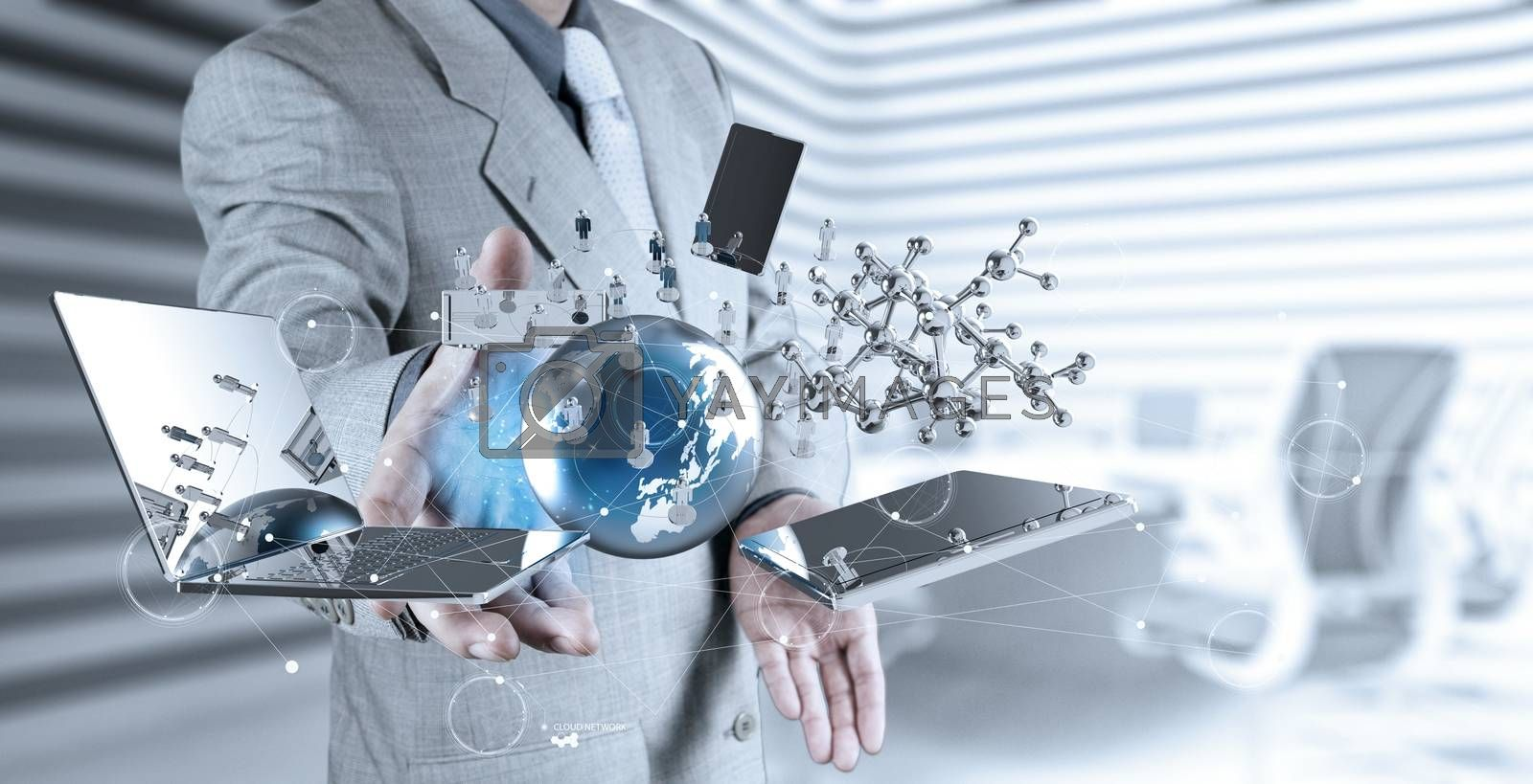 Royalty free image of businessman shows modern technology  by everythingpossible