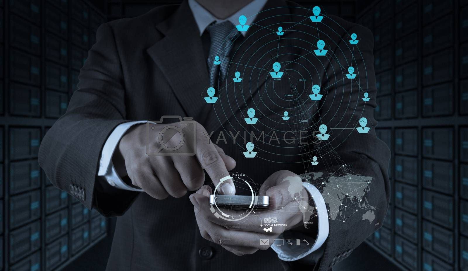 Royalty free image of businessman hand use smart phone computer with email icon as con by everythingpossible
