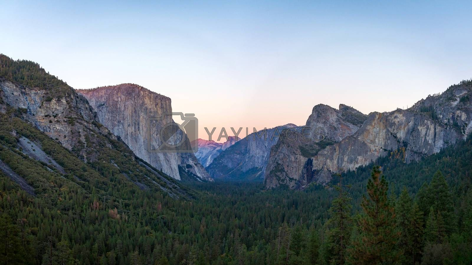 Royalty free image of Yosemite valley nation park during sunset view from tunnel view on twilight time. by Tanarch
