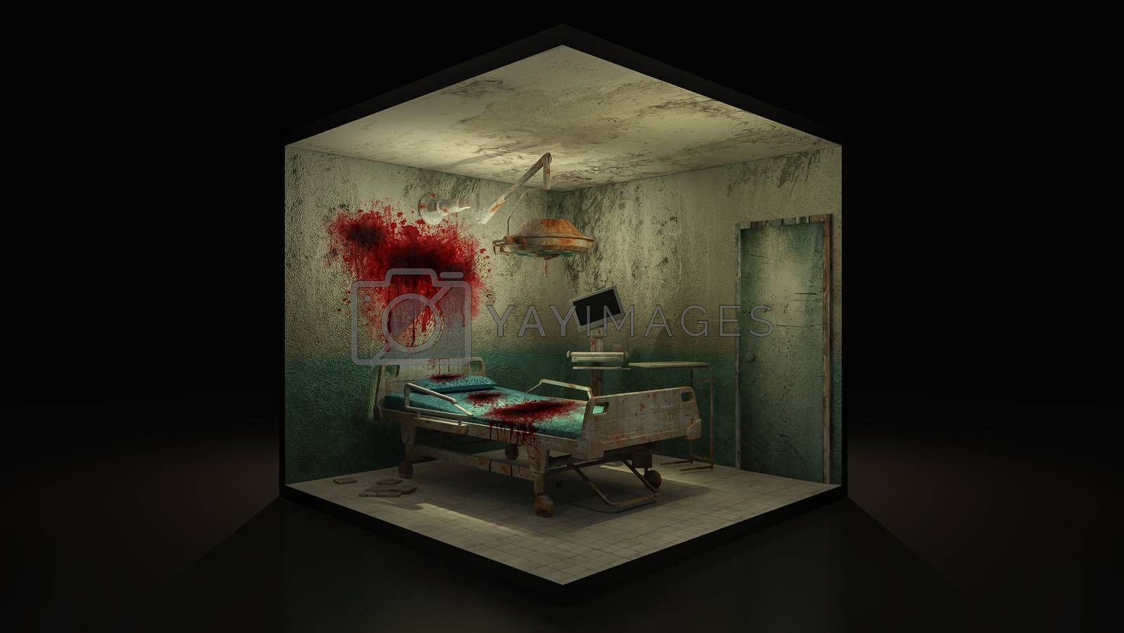Royalty free image of Horror and creepy abandoned operating room in the hospital with blood. 3d illustration. by anotestocker