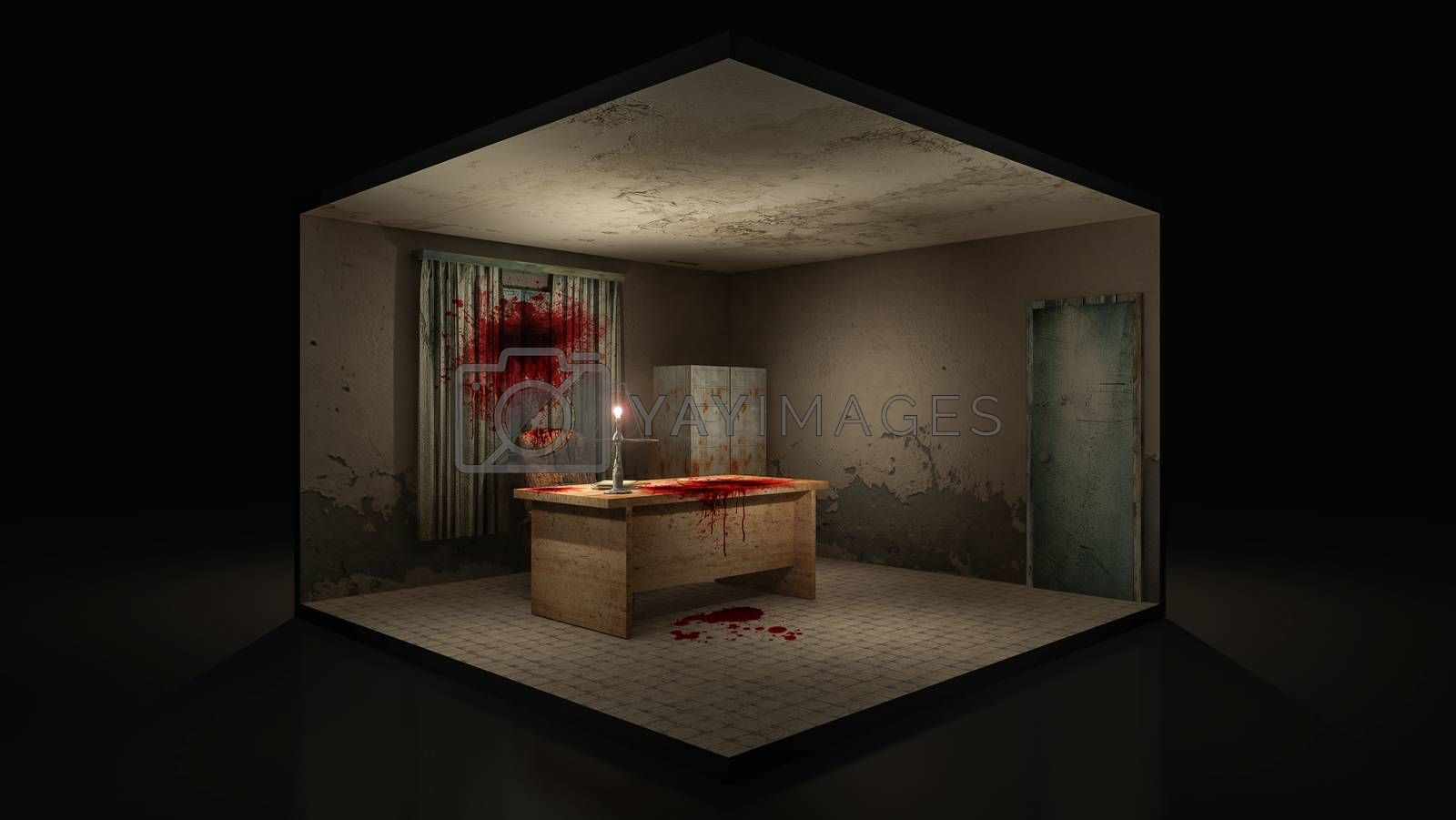 Royalty free image of Horror and creepy working room in the hospital with blood. 3d illustration. by anotestocker
