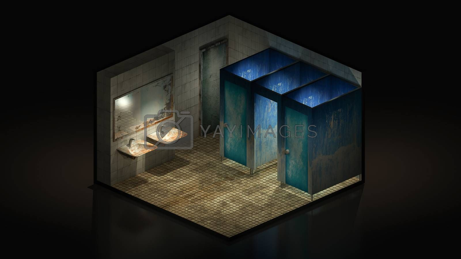 Royalty free image of Horror and creepy toilet in the hospital.,3d illustration Isomatric. by anotestocker