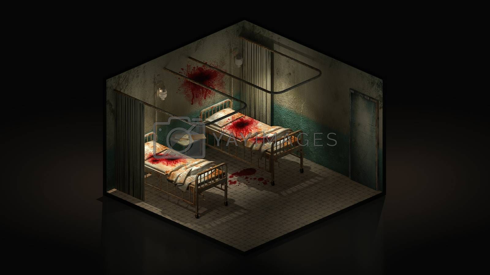 Royalty free image of Horror and creepy ward room in the hospital with blood. 3d illustration Isomatric. by anotestocker