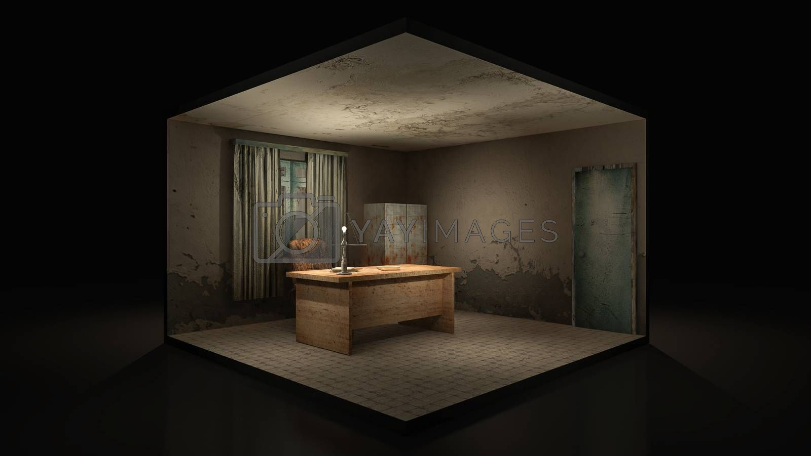 Royalty free image of Horror and creepy working room in the hospital .3D rendering.,3d illustration. by anotestocker