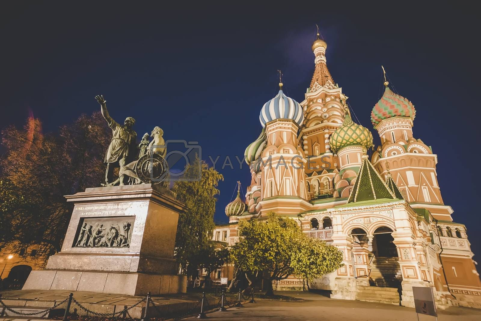 Royalty free image of View of St Basil's Cathedral, the famous and iconic cathedral on Red Square in Moscow, Russia. The Minin and Pojarsky monument at night time by diy13
