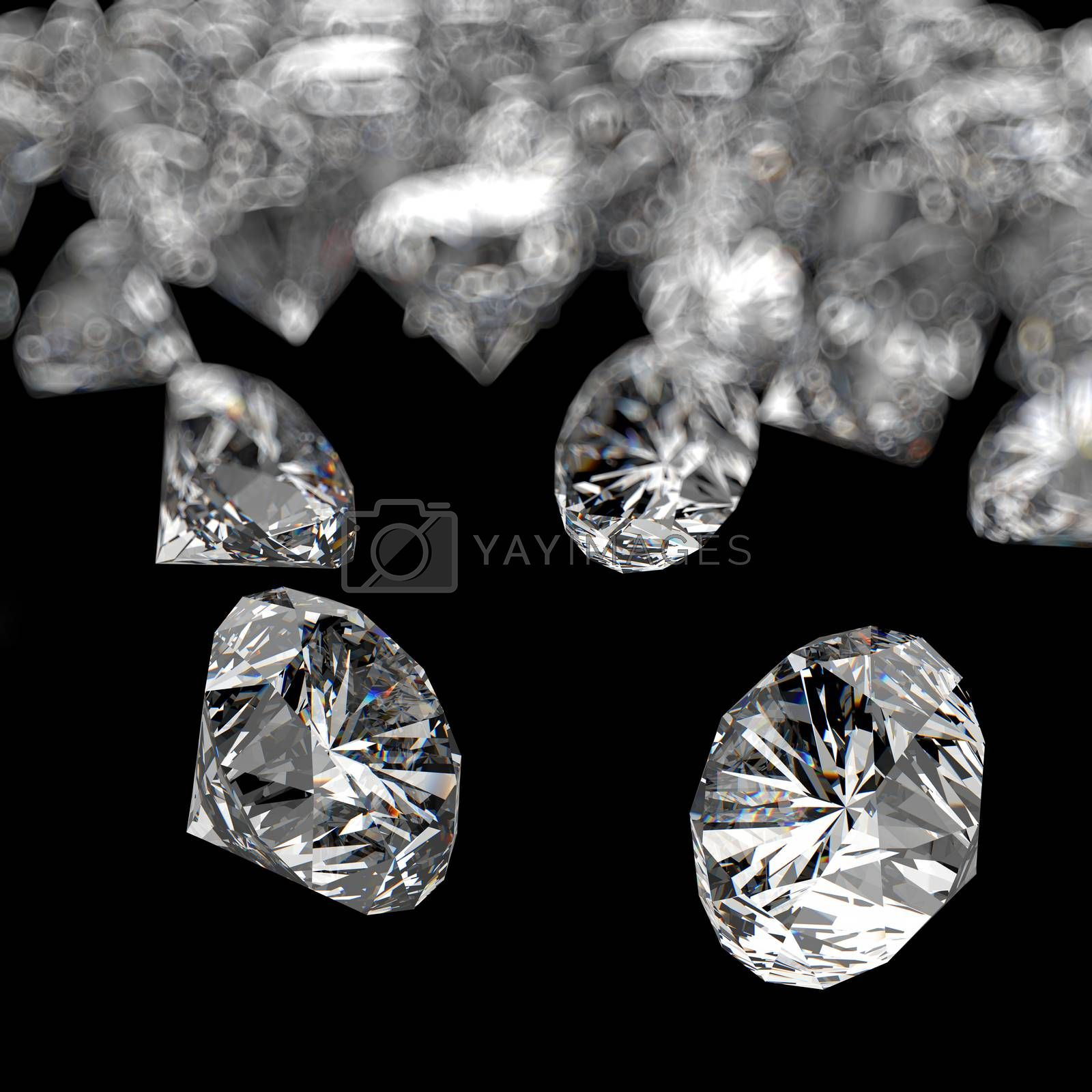 Royalty free image of Diamonds 3d composition on black background  by everythingpossible